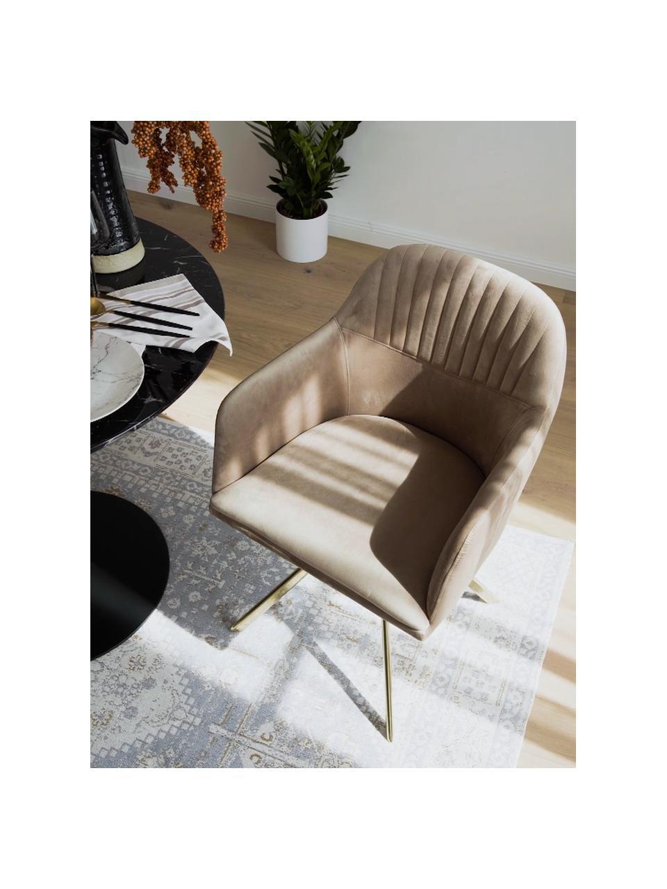 Aksamitne krzesło obrotowe z podłokietnikami Lola, Tapicerka: aksamit poliestrowy Dzięk, Nogi: metal galwanizowany, Aksamitny jasny brązowy, złoty, S 55 x G 52 cm