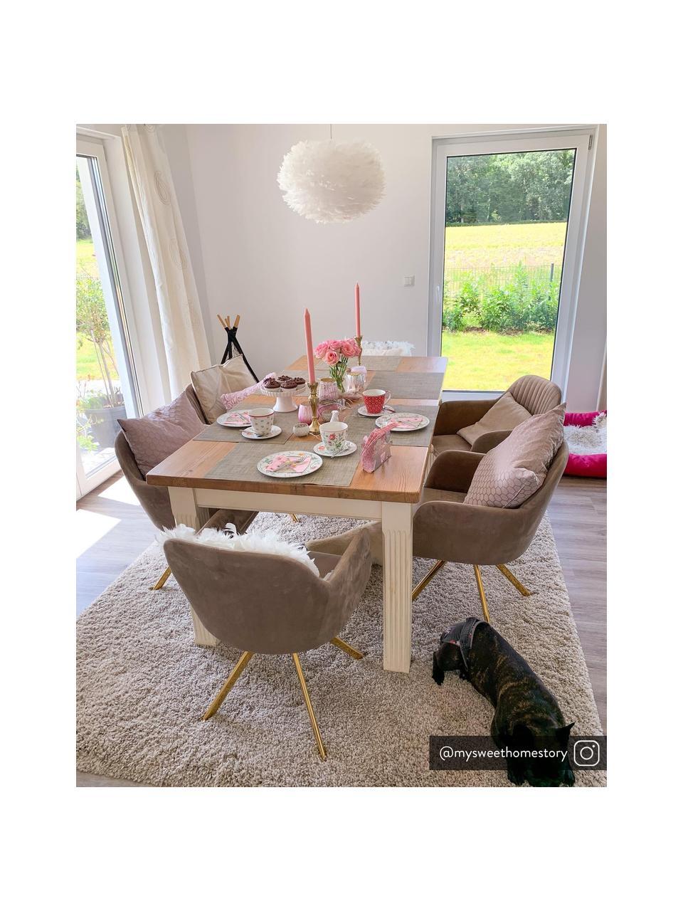 Krzesło obrotowe z podłokietnikami z aksamitu Lola, Tapicerka: aksamit poliestrowy Dzięk, Nogi: metal galwanizowany, Aksamitny jasny brązowy, złoty, S 55 x G 52 cm