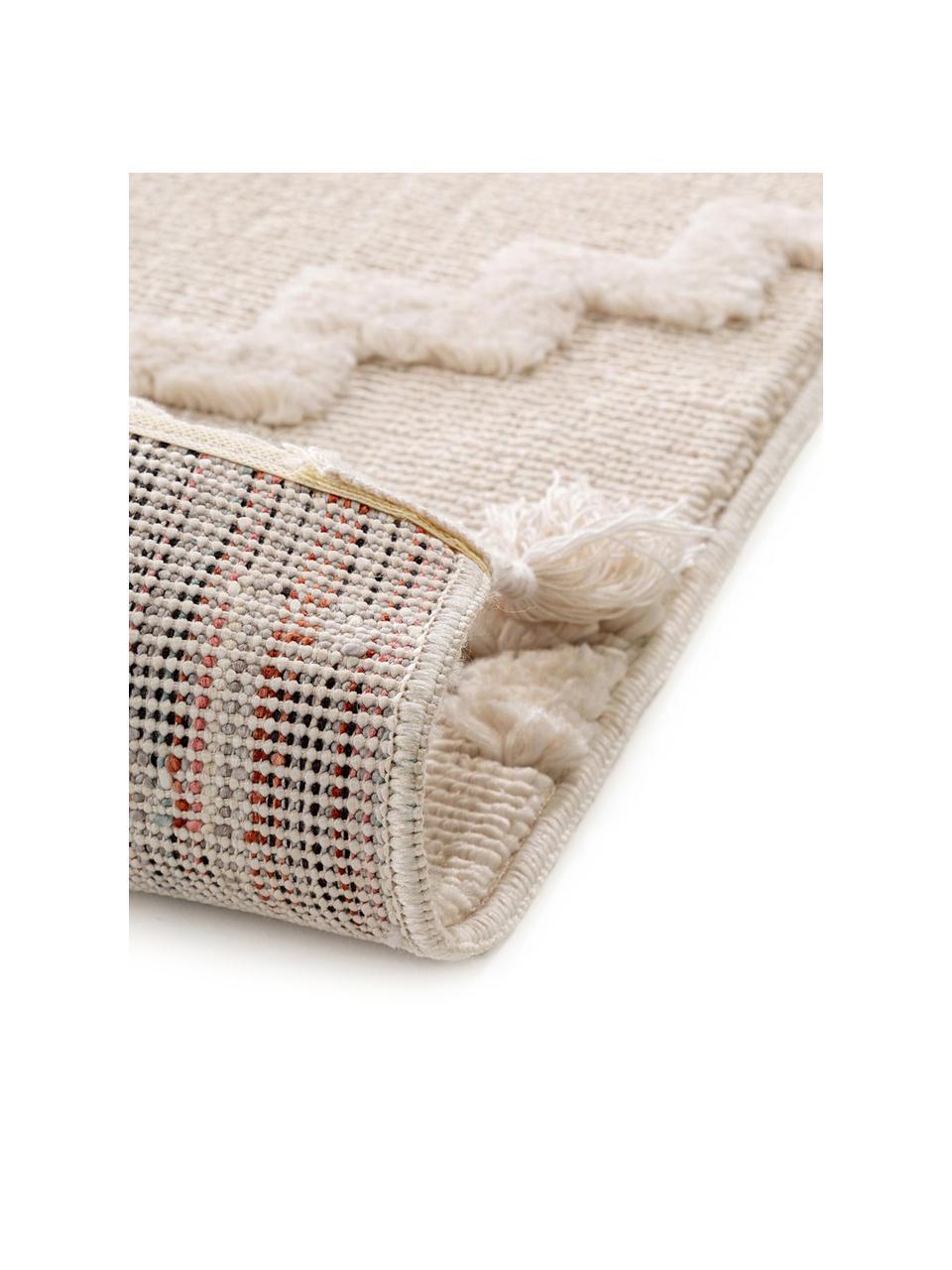Vloerkleed Oyo in crèmekleur met hoog-laag patroon in boho stijl, Bovenzijde: polyester, Onderzijde: katoen, Crèmekleurig, B 160 x L 230 cm (maat M)