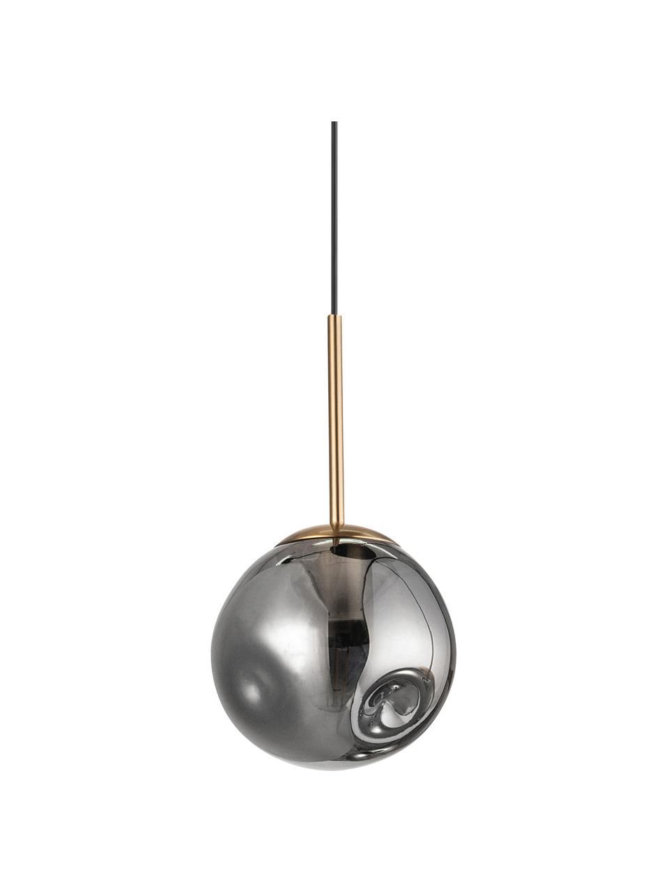 Mała lampa wisząca ze szkła Spada, Odcienie mosiądzu, szary, Ø 15 x W 28 cm