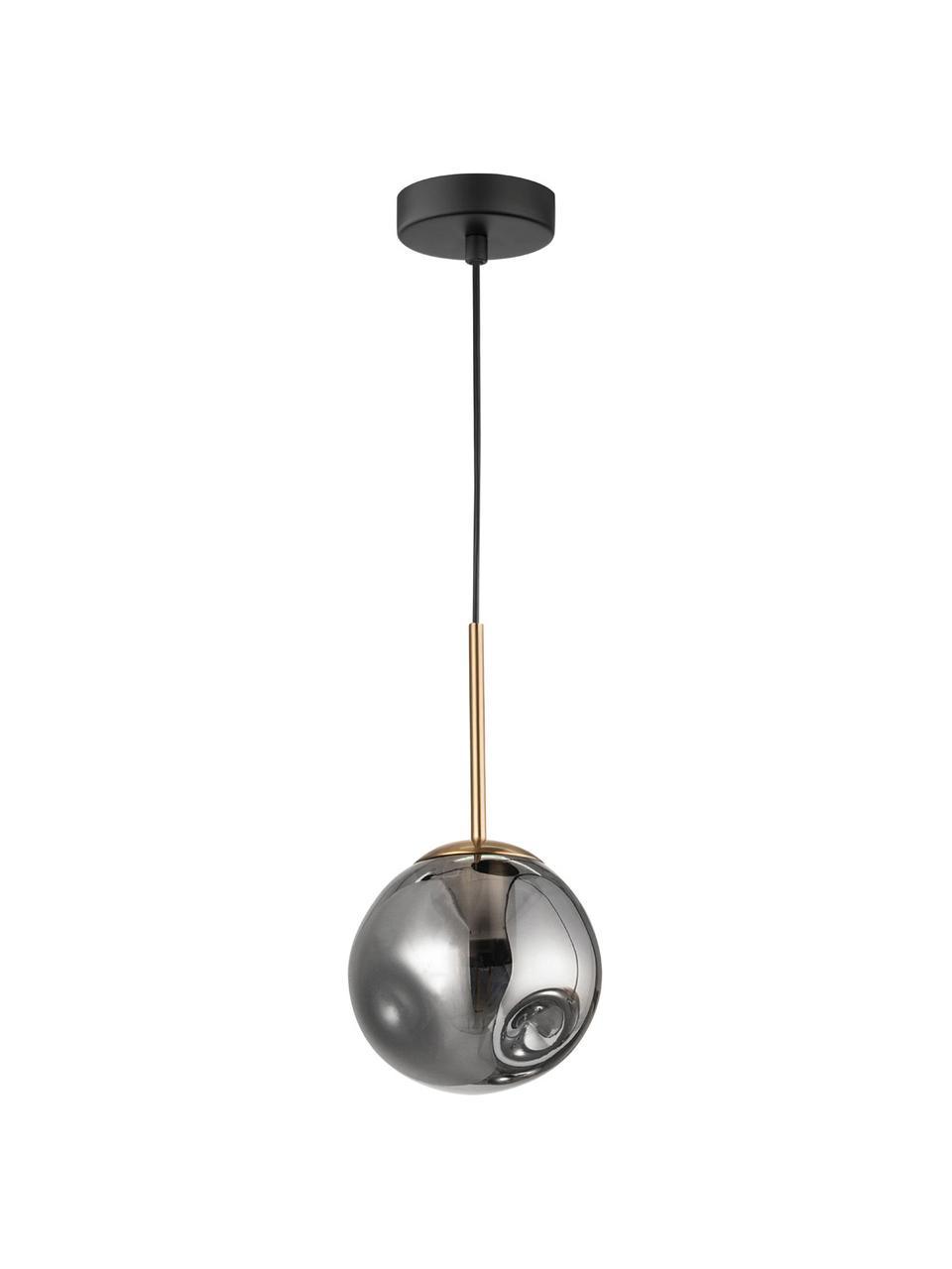 Kleine Pendelleuchte Spada aus Glas, Lampenschirm: Glas, Baldachin: Kunststoff, Messingfarben, Grau, Ø 15 x H 28 cm