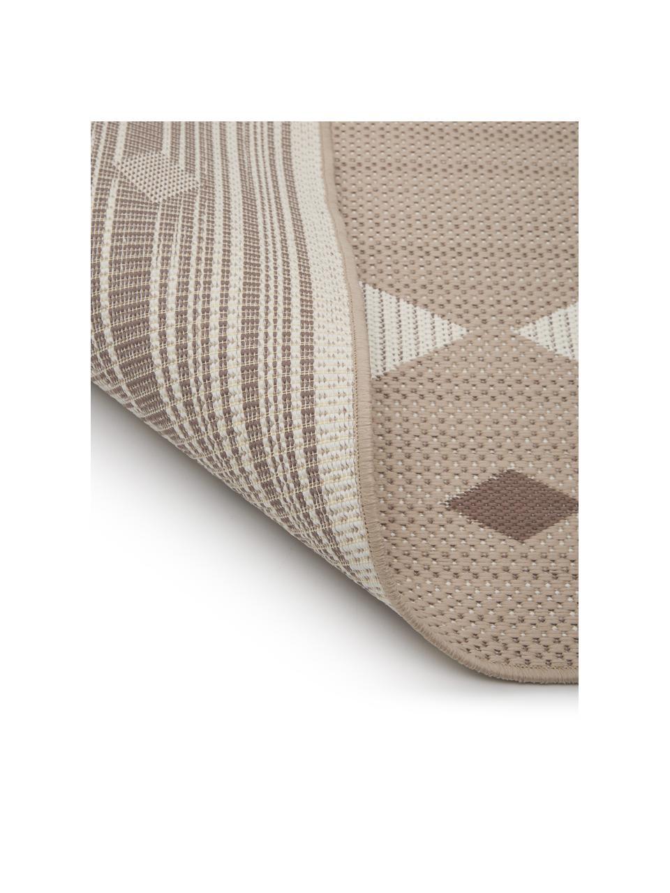 Ethno In- & outdoor vloerkleed Nikita, 86% polypropyleen, 14% polyester, Beige, wit, B 80 x L 150 cm (maat XS)