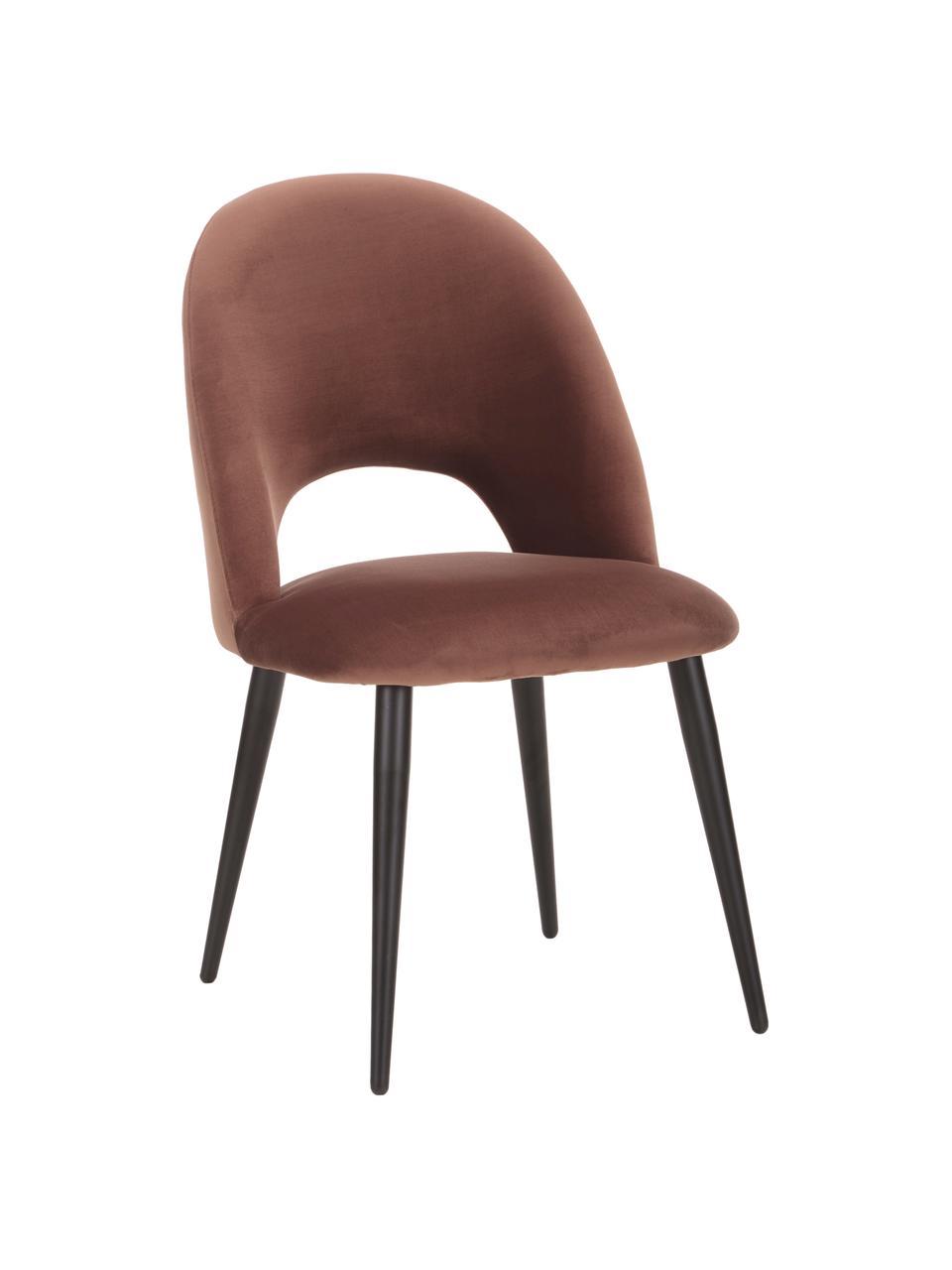 Sedia imbottita in velluto marrone Rachel, Rivestimento: (100% poliestere) Con 50., Gambe: metallo verniciato a polv, Velluto marrone, Larg. 53 x Prof. 57 cm