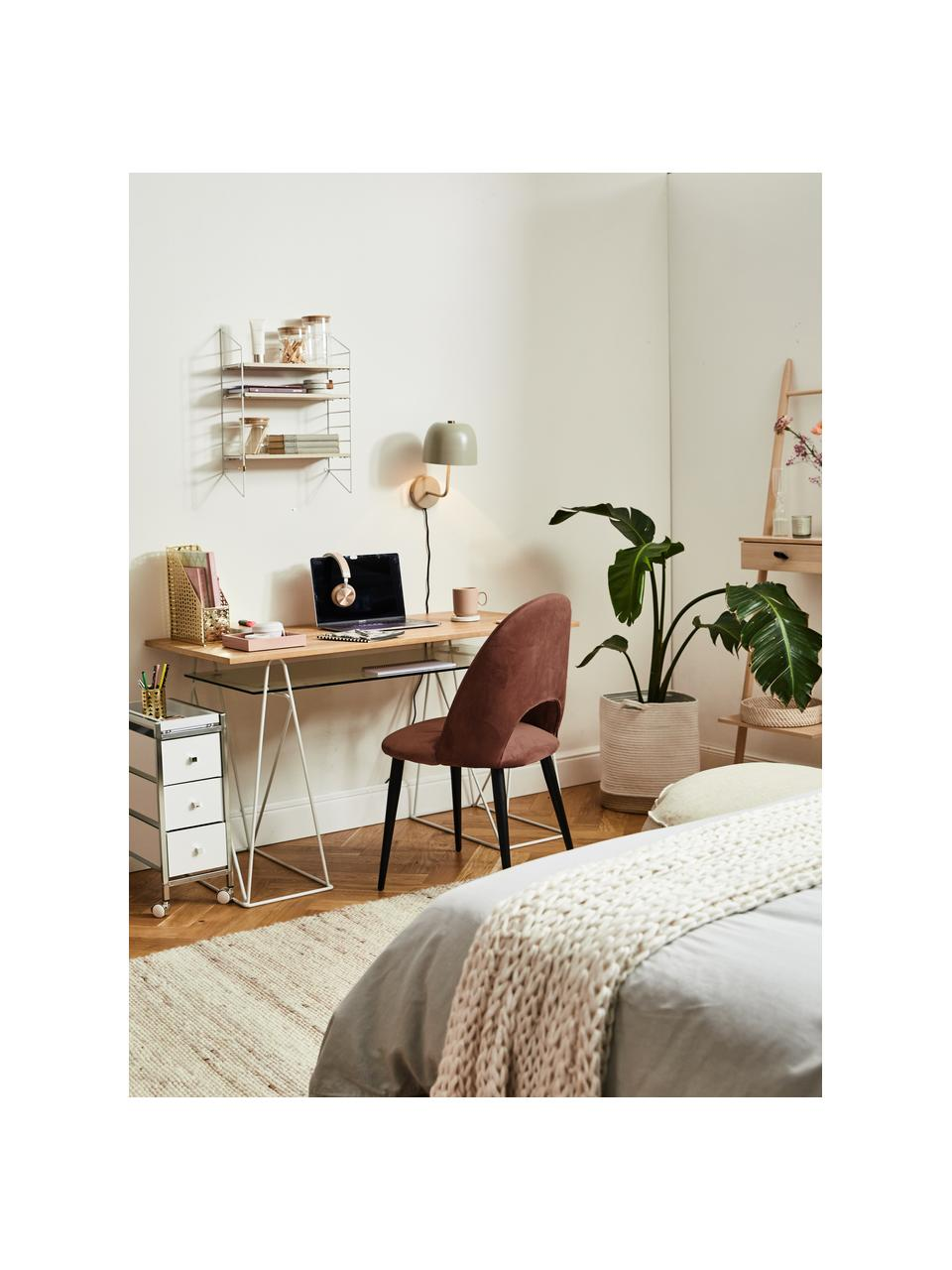 Krzesło tapicerowane z aksamitu Rachel, Tapicerka: aksamit (100% poliestr) D, Nogi: metal malowany proszkowo, Aksamitny brązowy, S 53 x G 57 cm