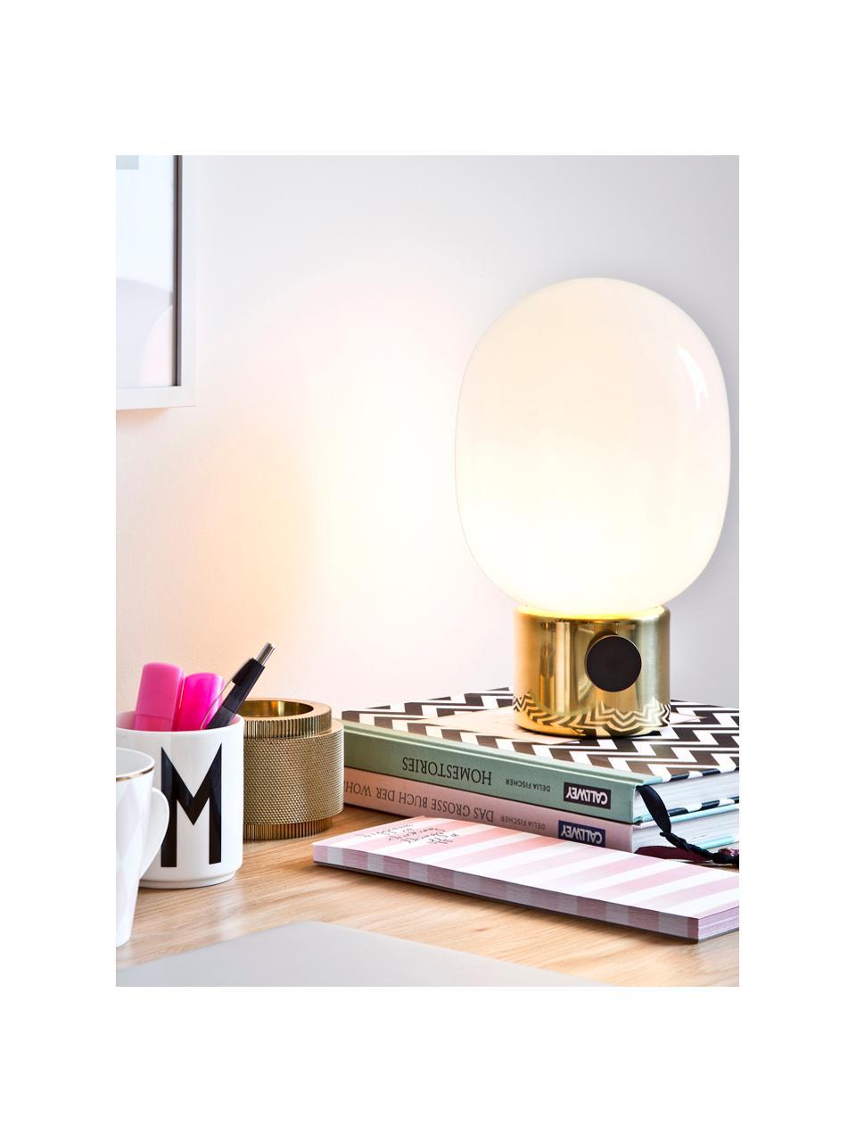 Kleine Dimmbare Nachttischlampe Mine aus Glas, Lampenfuß: Messing, Stahl, poliert, Lampenschirm: Glas, Lampenfuß: Messing, Stahl, poliert Lampenschirm: Weiß, Ø 17 x H 29 cm