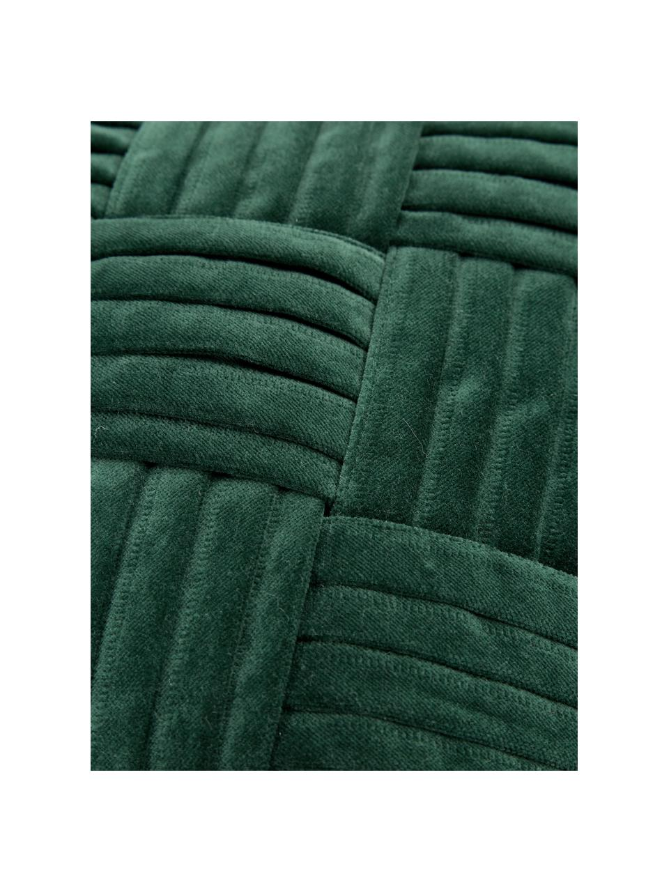 Federa arredo in velluto verde scuro con motivo a rilievo Sina, Velluto (100% cotone), Verde, Larg. 45 x Lung. 45 cm