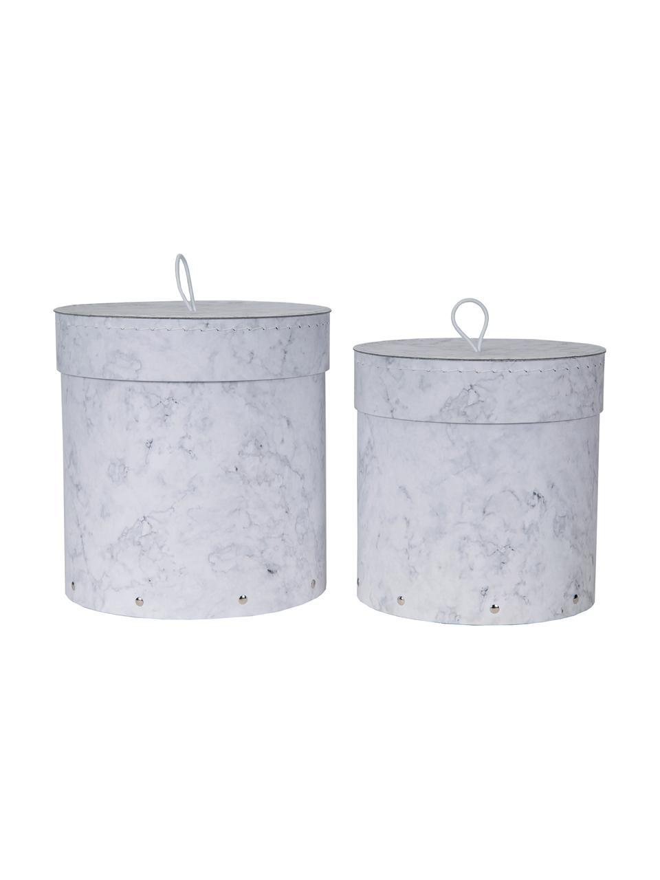 Set 2 scatole con coperchio Hanna, Scatola: solido, cartone laminato, Maniglia: gomma, Bianco, marmorizzato, Set in varie misure