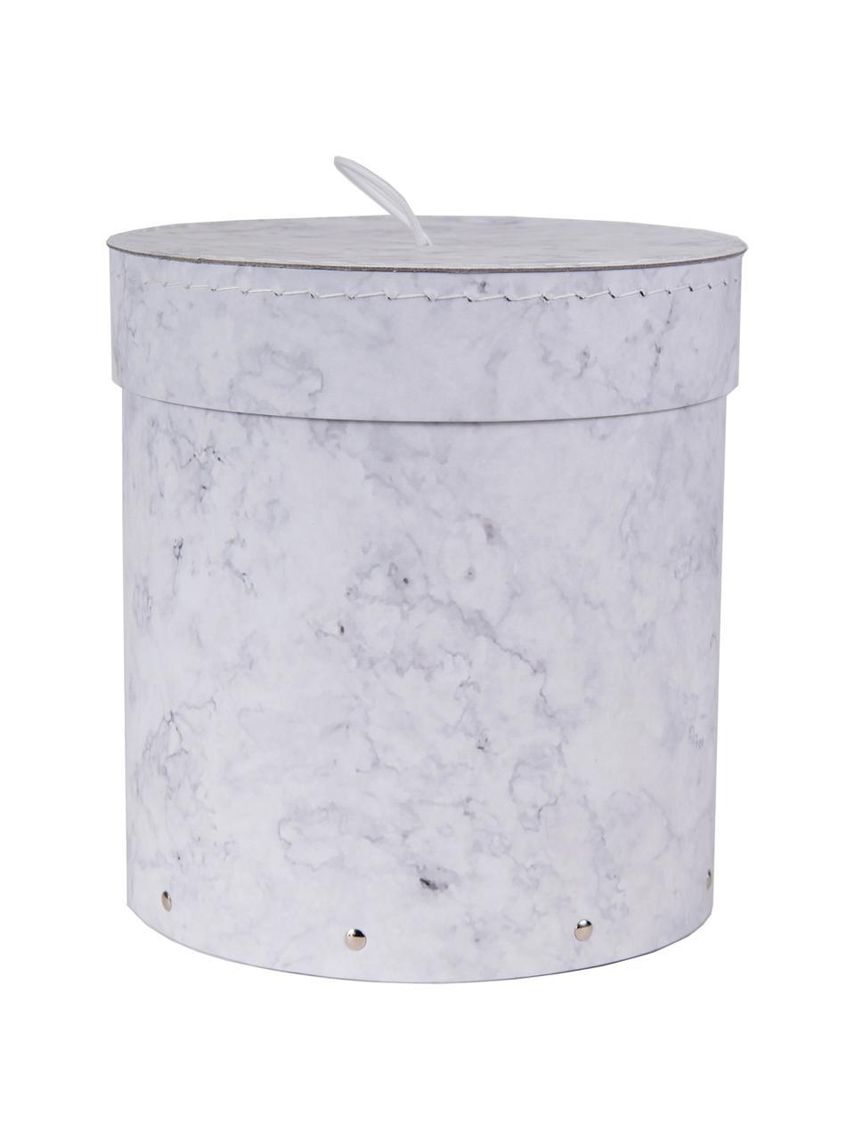 Aufbewahrungsboxen-Set Hanna, 2-tlg., Box: Fester, laminierter Karto, Griff: Gummi, Weiß, marmoriert, Sondergrößen