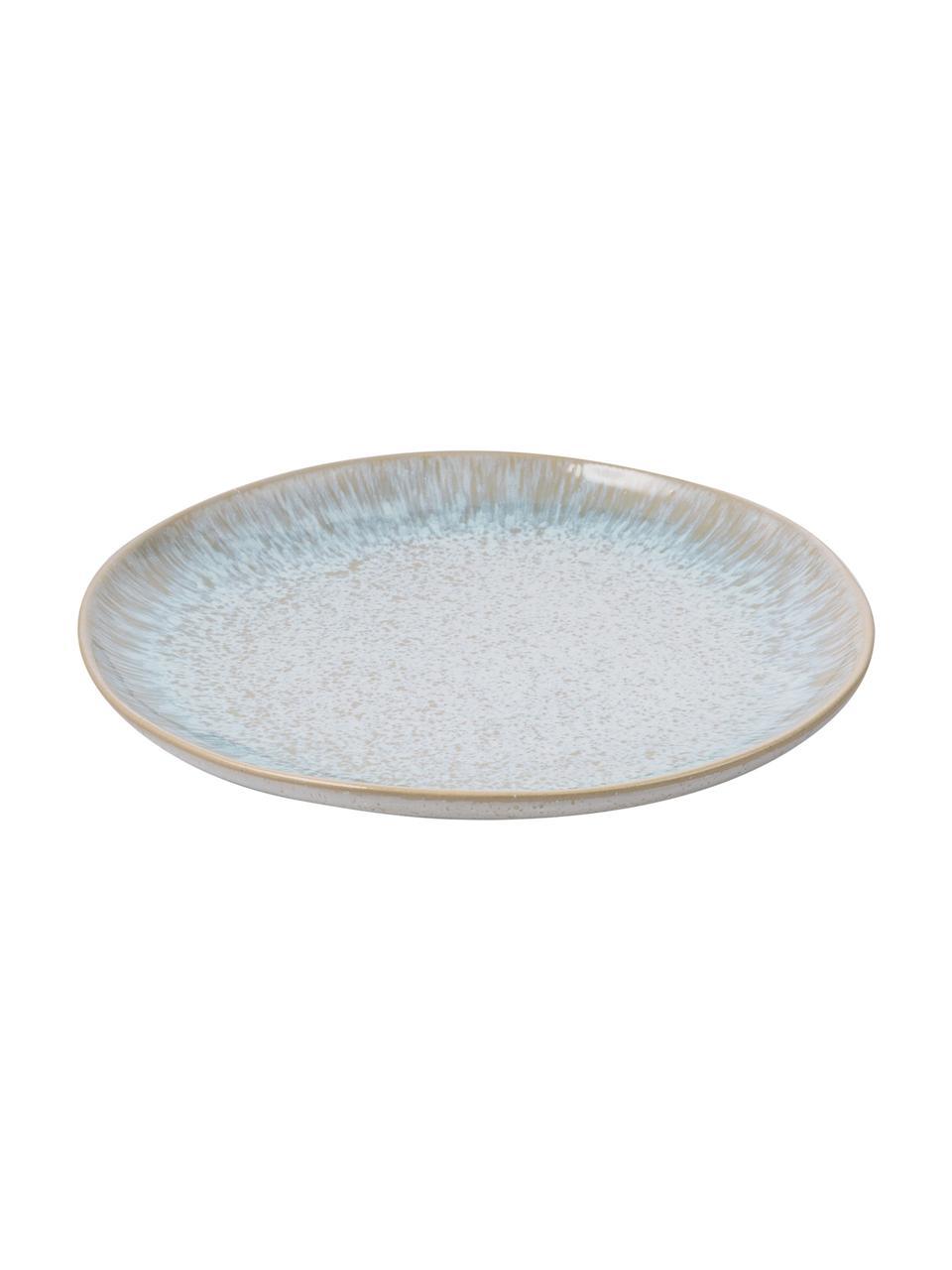 Ręcznie malowany talerz śniadaniowy Areia, 2 szt., Kamionka, Jasny niebieski, złamana biel, jasny beżowy, Ø 22 cm