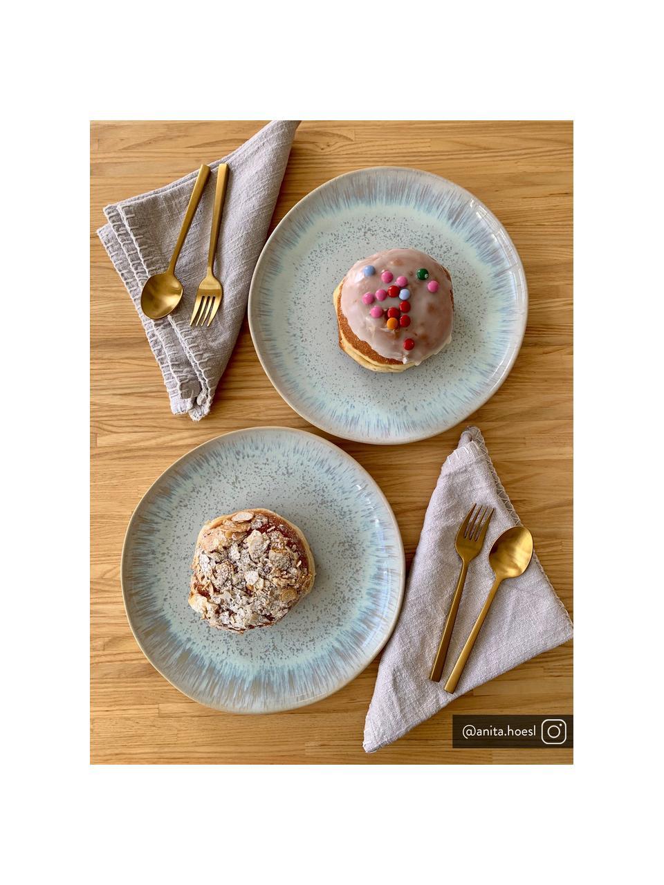 Piattino da dessert dipinto a mano Areia 2 pz, Gres, Azzurro, bianco latteo, beige chiaro, Ø 22 cm