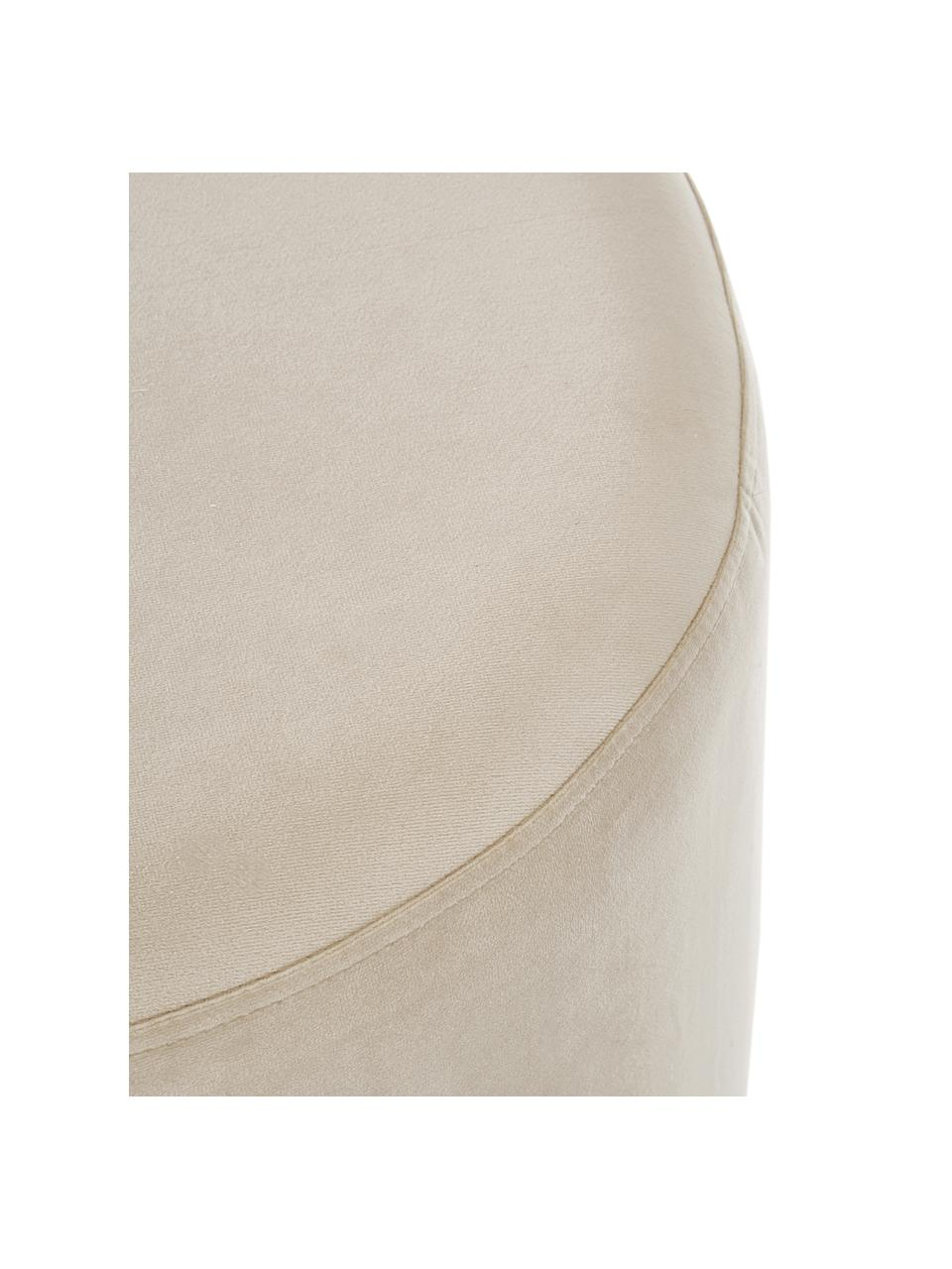 Fluwelen poef Daisy in beige, Bekleding: fluweel (polyester), Frame: multiplex, Fluweel beige, Ø 38 x H 45 cm