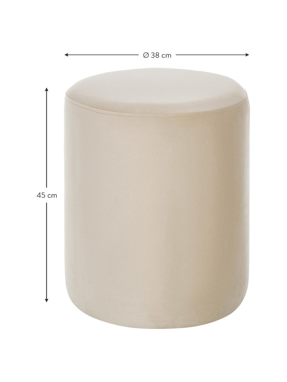 Pouf in velluto beige Daisy, Rivestimento: velluto (poliestere) Con , Struttura: fibra a media densità, Velluto beige, Ø 38 x Alt. 45 cm