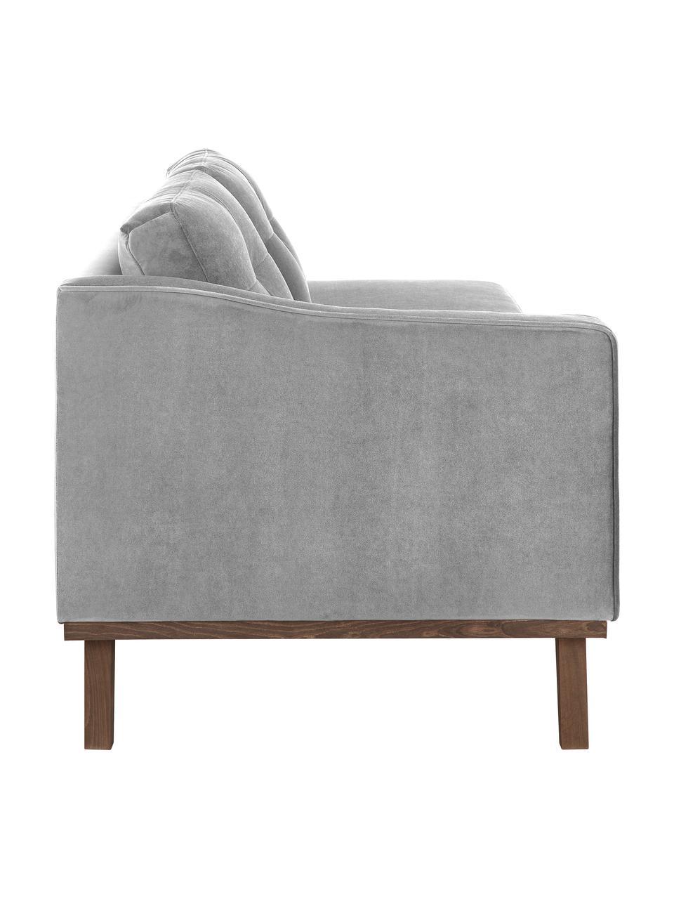 Fluwelen chaise longue Alva in grijs met beukenhout-poten, Bekleding: fluweel (hoogwaardig poly, Frame: massief grenenhout, Poten: massief gebeitst beukenho, Grijs, B 193 x D 94 cm