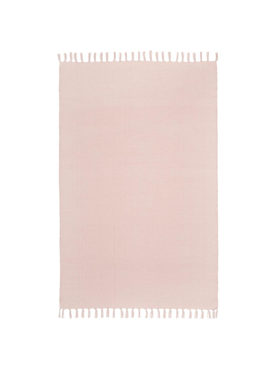 Tappeto in cotone sottile rosa tessuto a mano Agneta, 100% cotone, Rosa, Larg. 200 x Lung. 300 cm (taglia L)