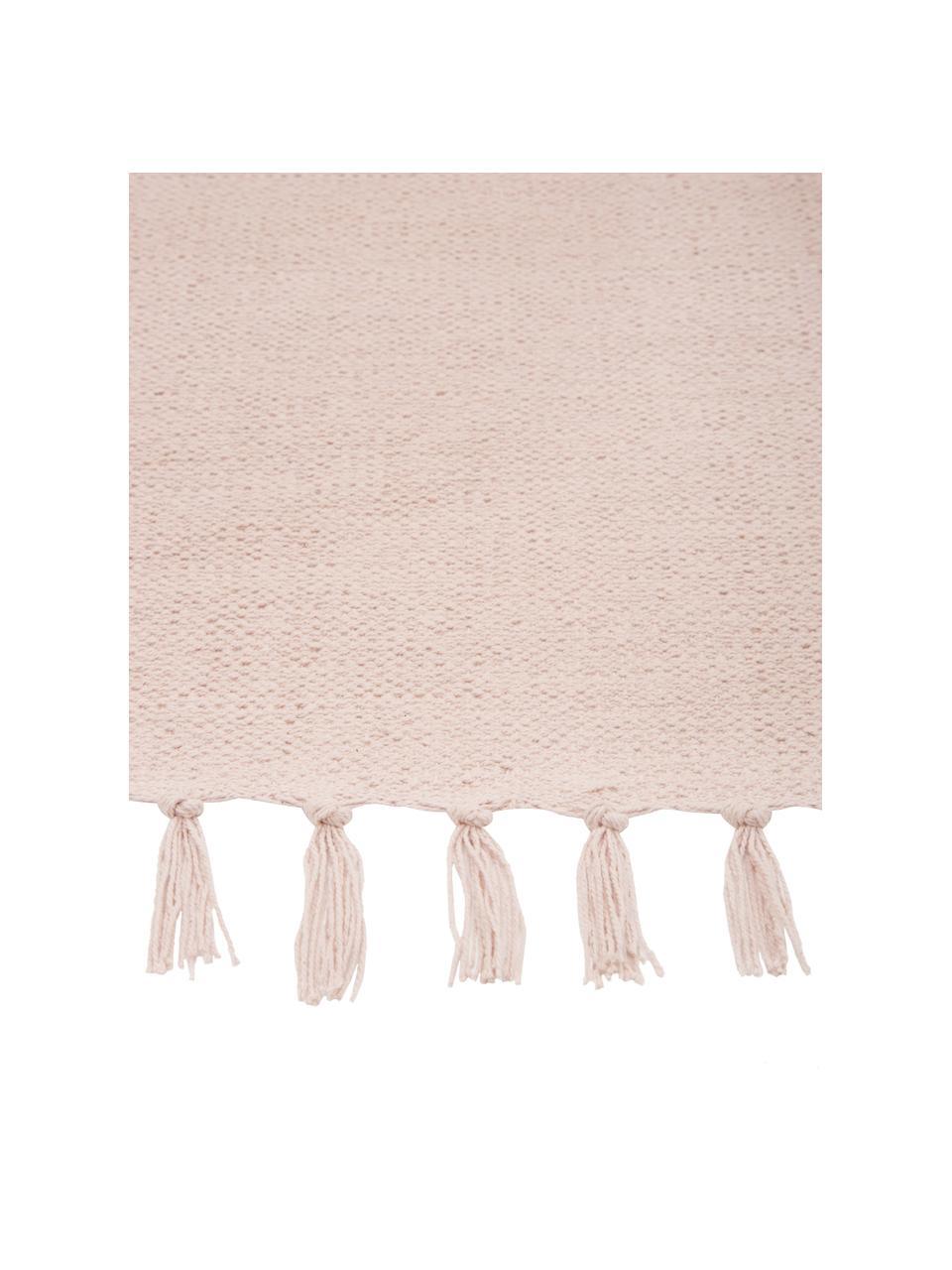Dünner Baumwollteppich Agneta in Rosa, handgewebt, 100% Baumwolle, Rosa, B 200 x L 300 cm (Größe L)