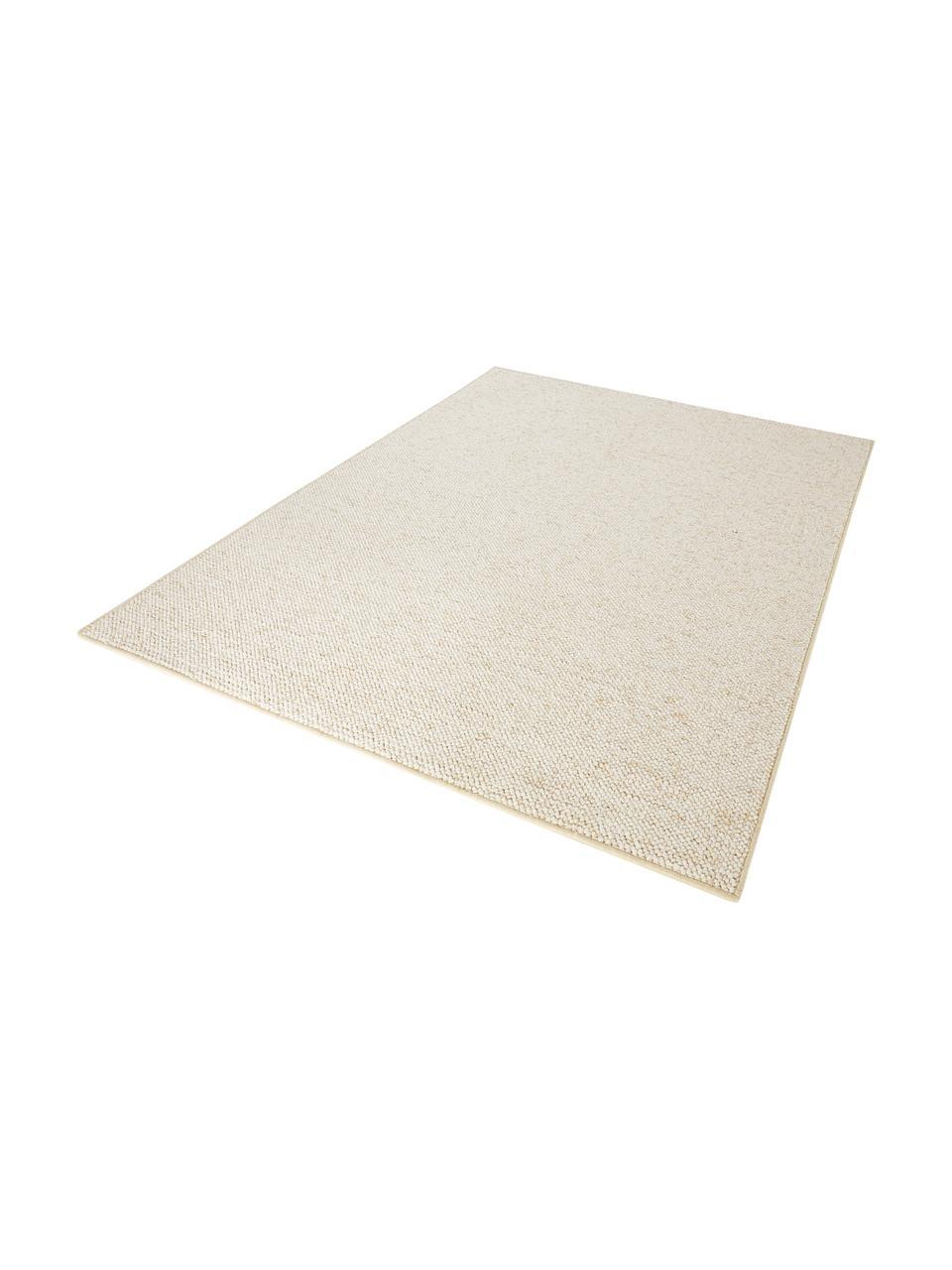 Rond vloerkleed Lyon met lussenpool, Bovenzijde: 100% polypropyleen, Onderzijde: fleece, Gemengd crèmekleurig, B 200 x L 300 cm (maat L)