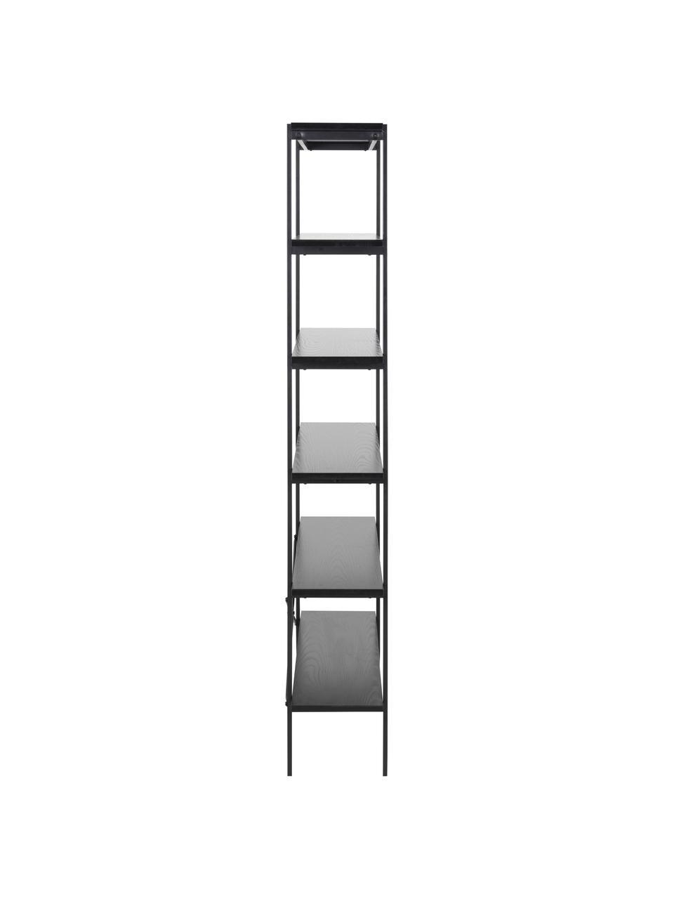 Regał Angus, Stelaż: metal powlekany Półki pły, Czarny, S 94 x W 172 cm