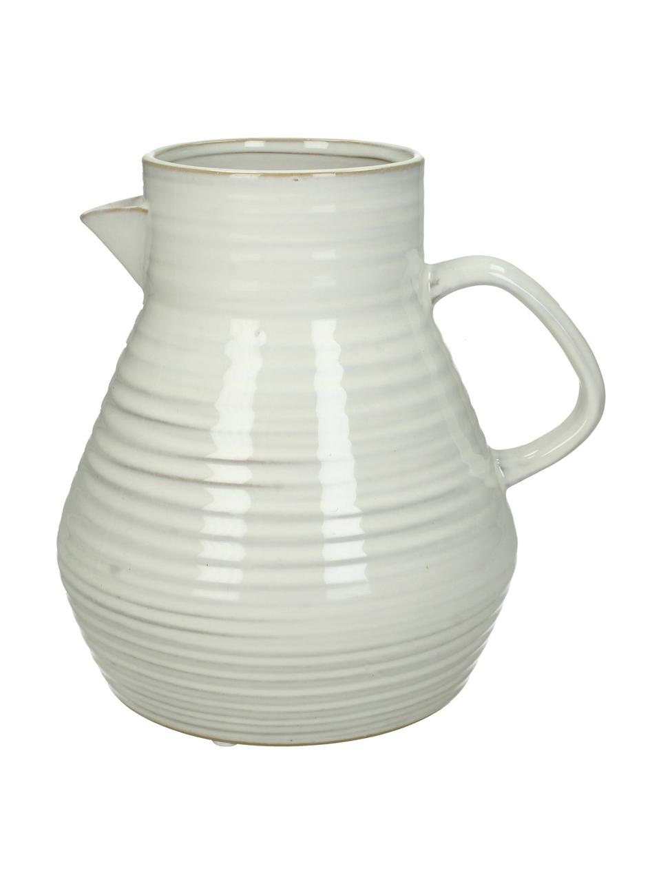 Karaf-vaas Pitcher van keramiek, Keramiek, Gebroken wit, beige, 20 x 20 cm