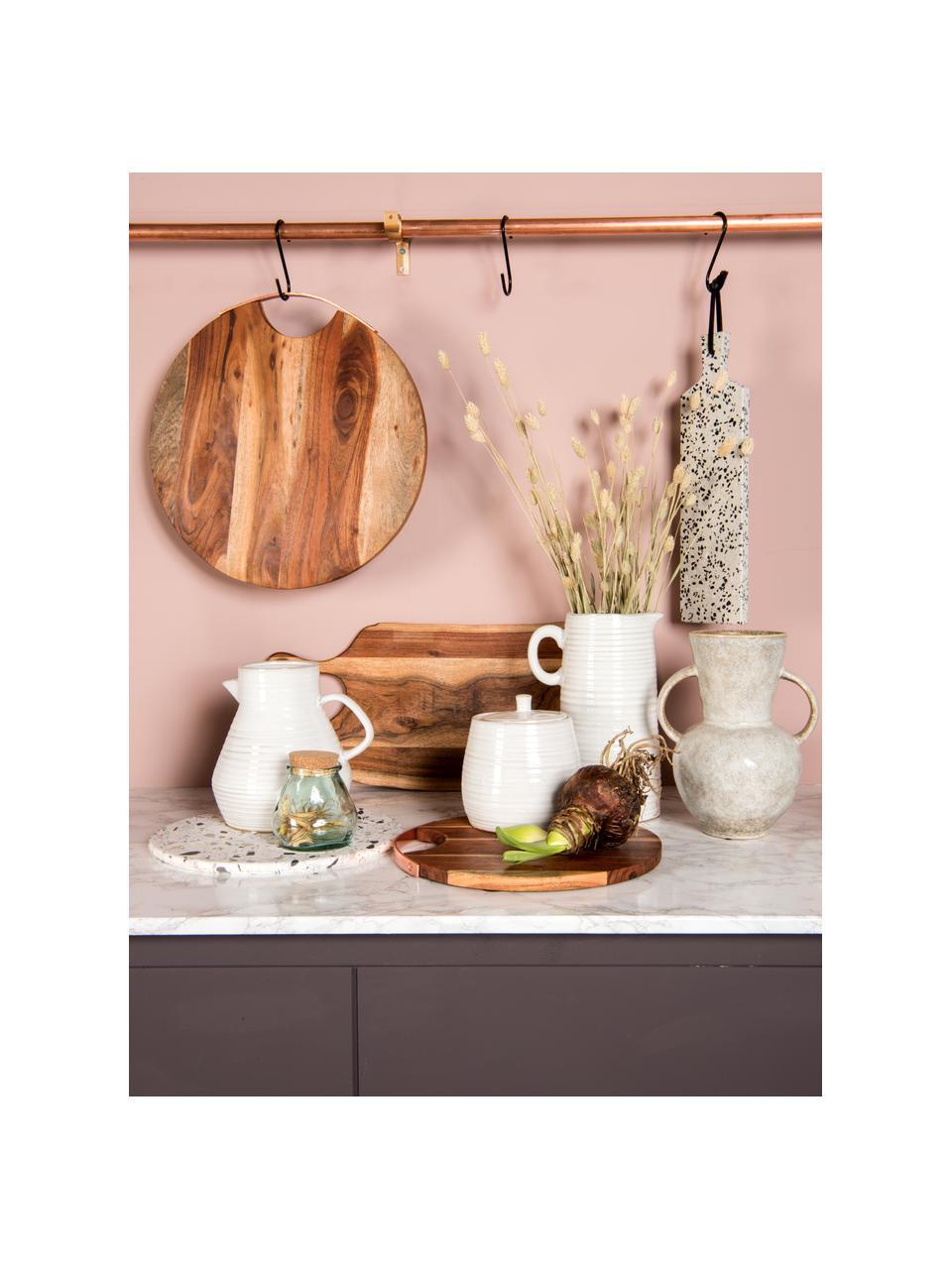 Krug-Vase Pitcher aus Steingut, Steingut, Gebrochenes Weiß, Beige, 20 x 20 cm