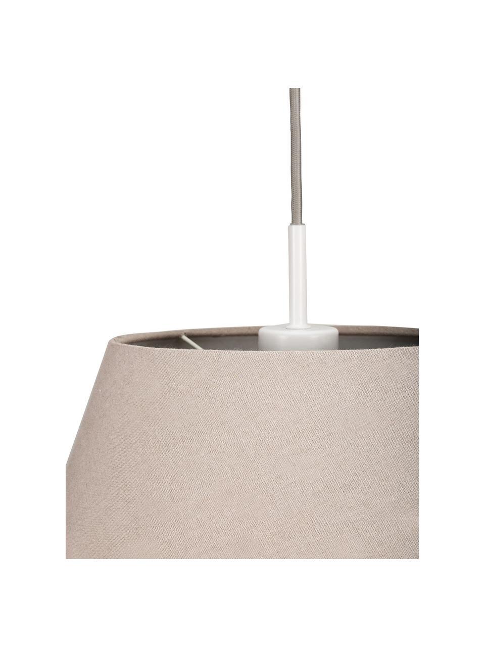 Pendelleuchte Noble Delight, Lampenschirm: Stoff, Baldachin: Metall, beschichtet, Grau, Weiß, Ø 37 x H 31 cm
