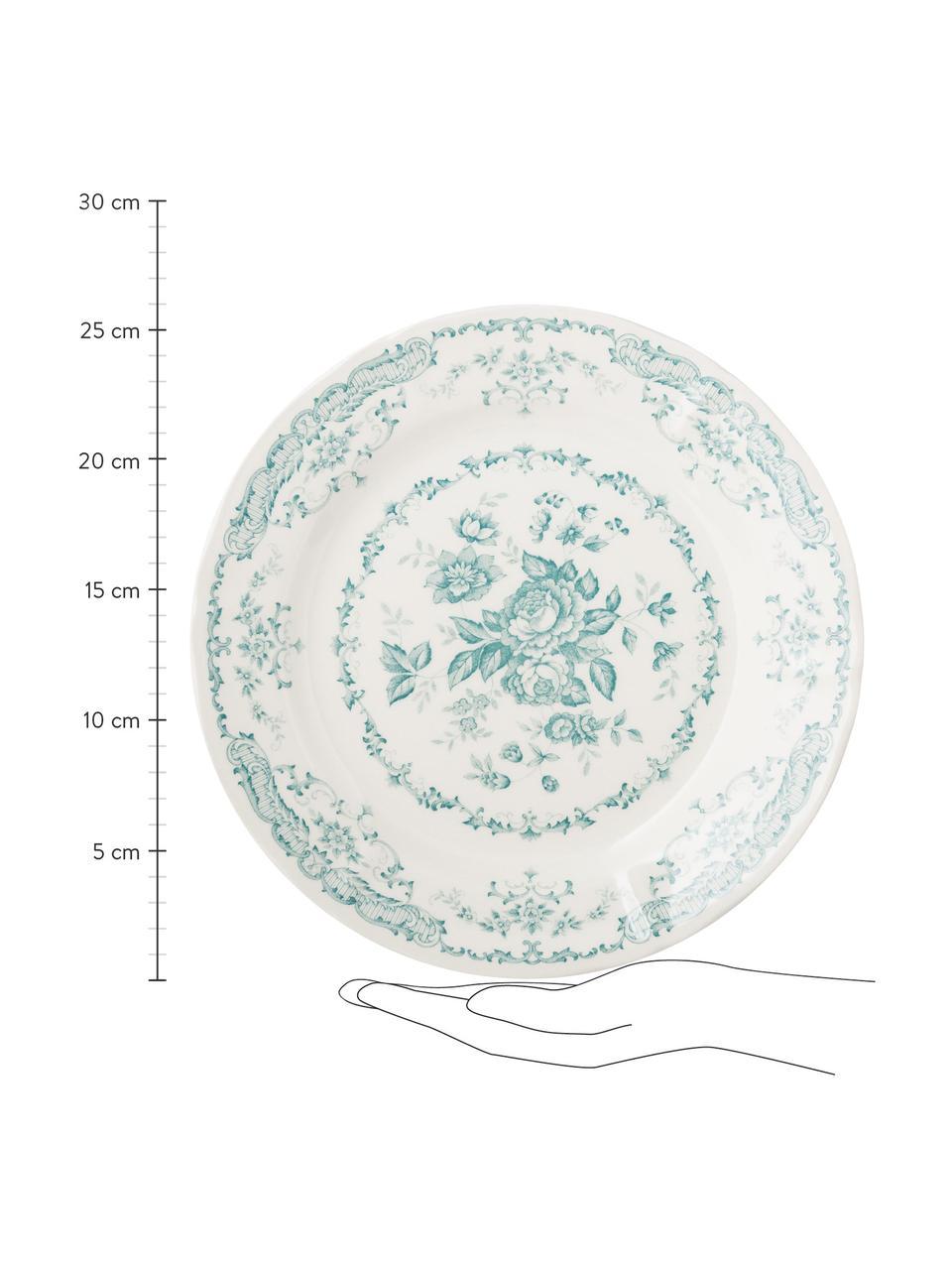Geschirr-Set Rose mit Blumendesign in Türkis, 6 Personen (18-tlg.), Keramik, Weiß, Türkis, Sondergrößen