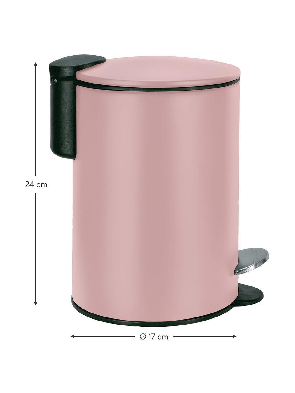 Abfalleimer Silence mit Pedalfunktion, Metall, lackiert, Rosa, Ø 17 x H 24 cm