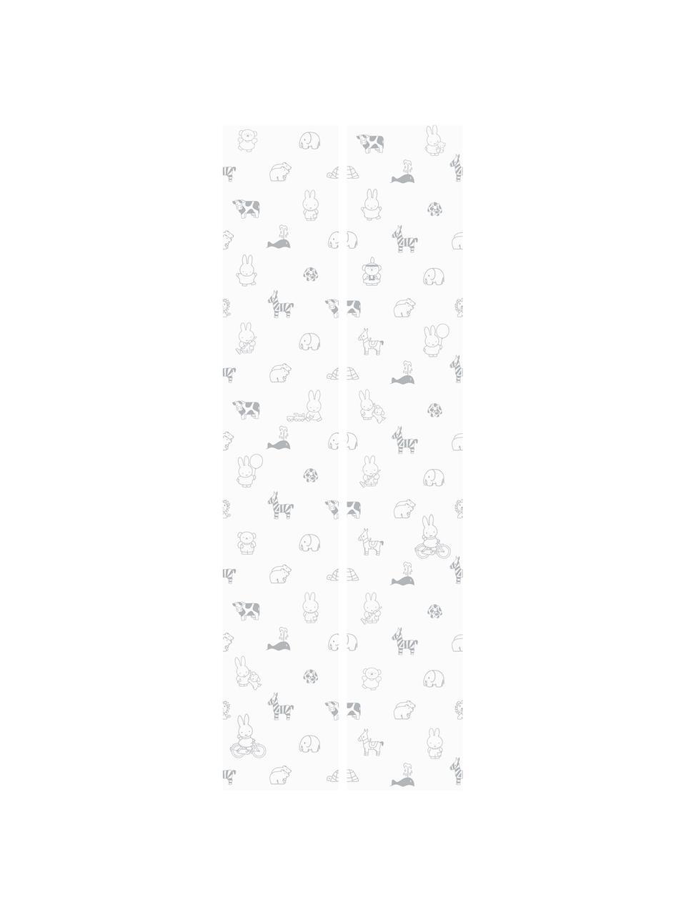 Tapete Miffy, Papier, matt, 165 g/m², Weiß, Grau, B 97 x H 280