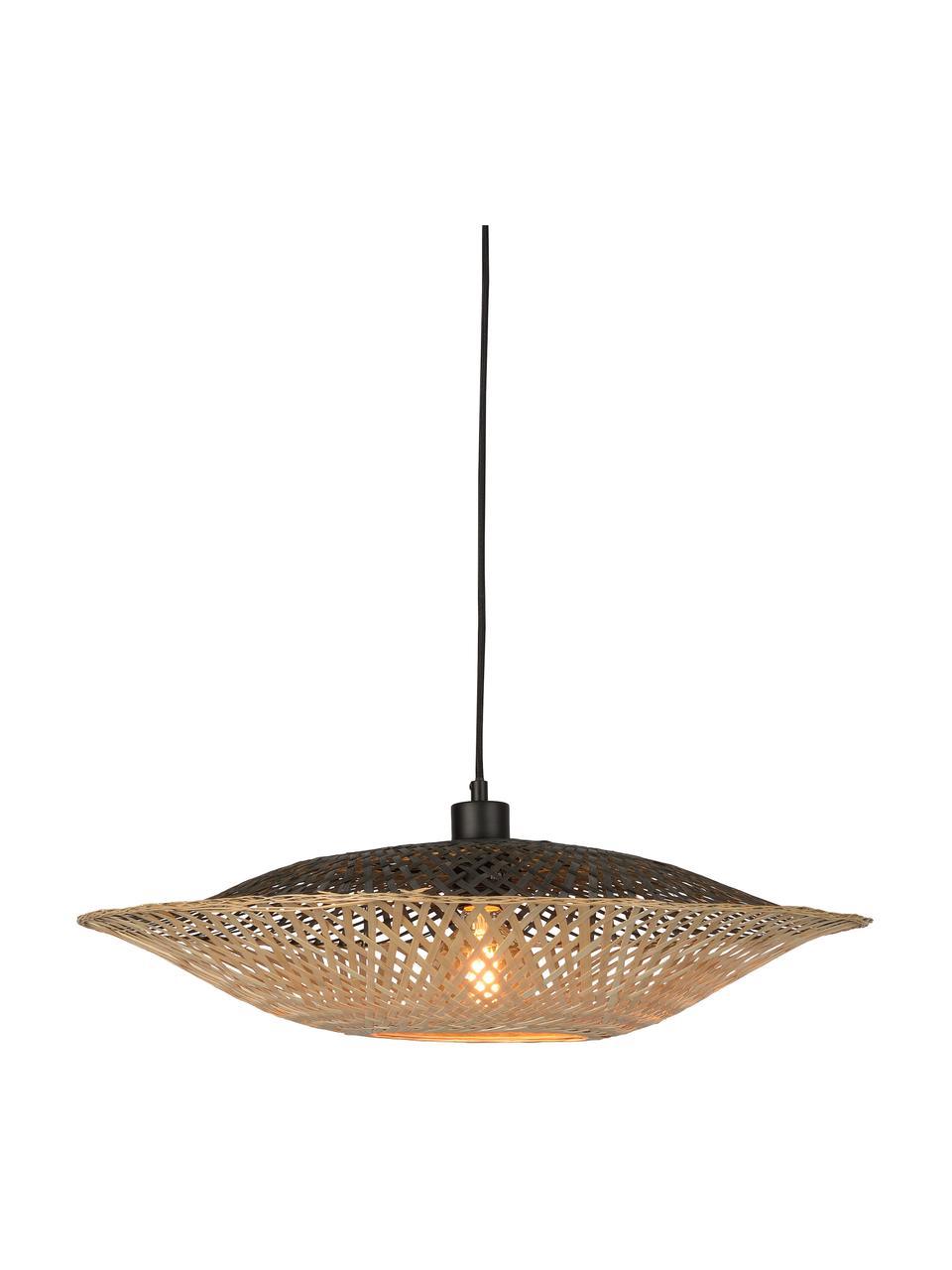 Lampada a sospensione in bambù Kalimantan, Paralume: bambù, Baldacchino: materiale sintetico, Bambù, nero, Ø 60 x Alt. 15 cm