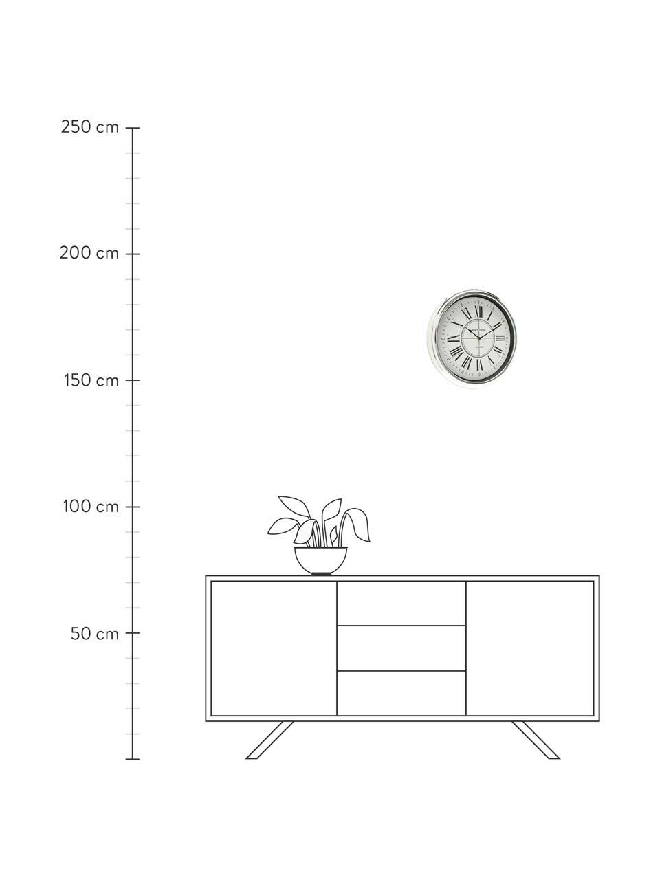 Wanduhr Kendra, Kunststoff, Silberfarben, Ø 40 cm