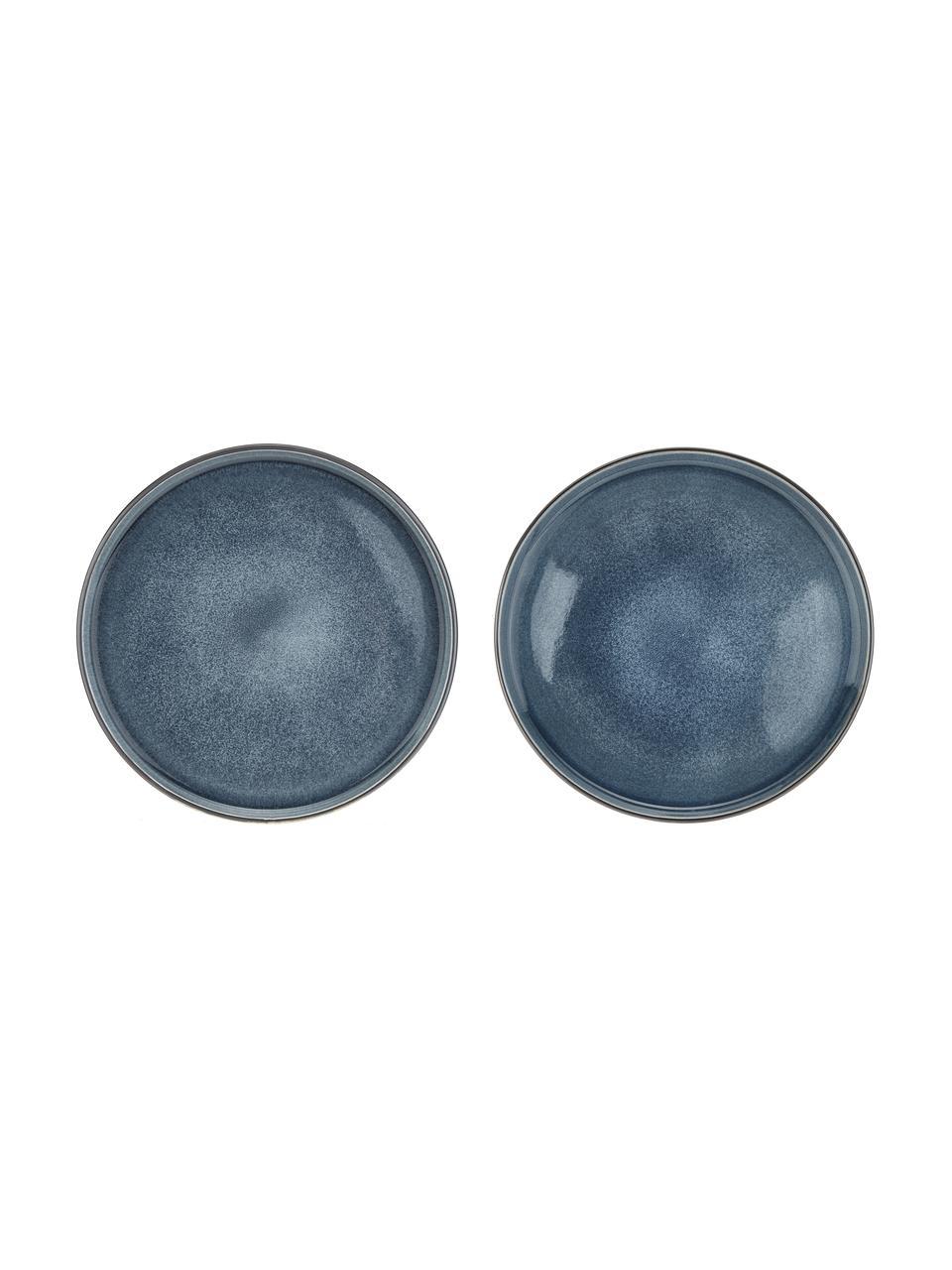 Ręcznie wykonany talerz duży Quintana, 2 szt., Porcelana, Niebieski, brązowy, Ø 28 cm