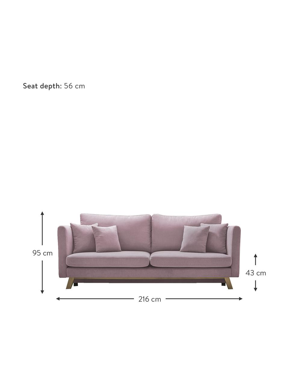 Sofa rozkładana z miejscem do przechowywania Triplo (3-osobowa), Tapicerka: 100% poliester, w dotyku , Nogi: metal lakierowany, Blady różowy, S 216 x G 105 cm