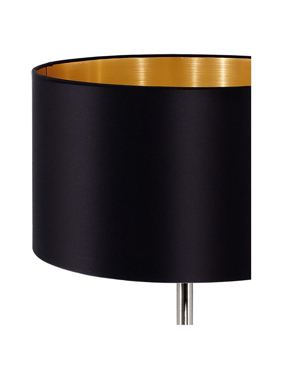 Lampada da tavolo con dettaglio dorato Jamie, Base della lampada: metallo nichelato, Nero, argentato, Ø 23 x Alt. 42 cm