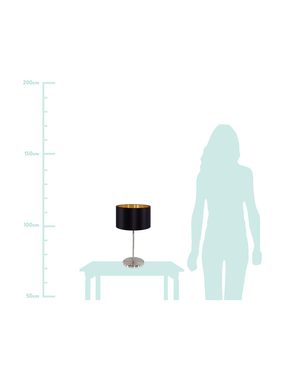 Tischlampe Jamie mit Golddekor, Lampenfuß: Metall, vernickelt, Schwarz,Silberfarben, Ø 23 x H 42 cm