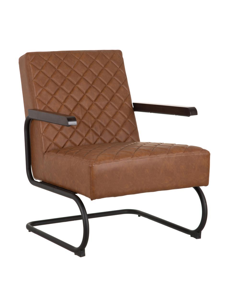 Fotel wypoczynkowy ze sztucznej skóry Arne, Tapicerka: sztuczna skóra (poliureta, Stelaż: płyta wiórowa, Nogi: metal powlekany, Brązowy, czarny, S 70 x G 85 cm