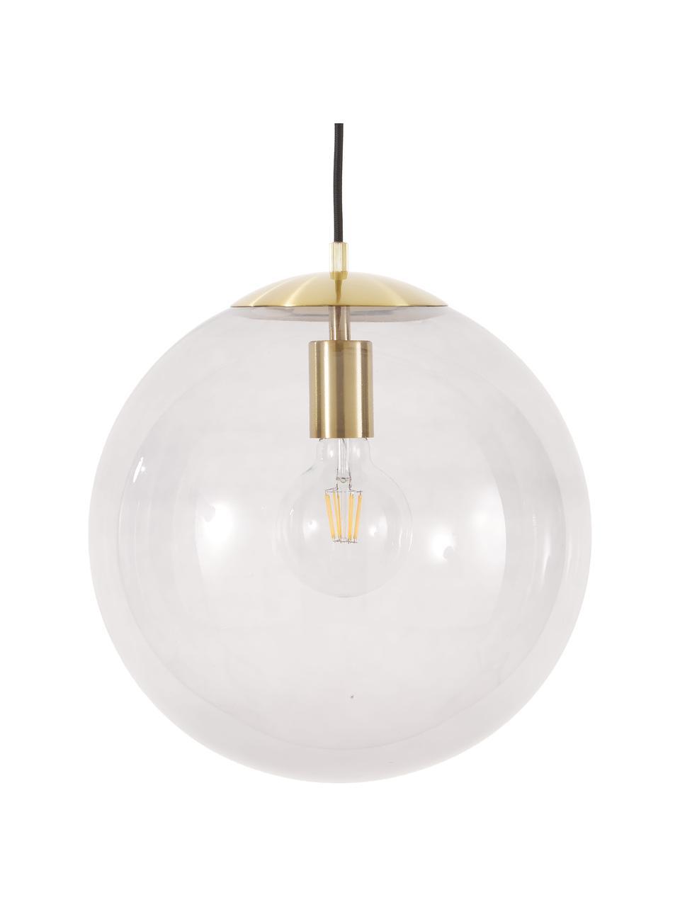 Hanglamp Bao van glas, Lampenkap: glas, Baldakijn: gegalvaniseerd metaal, Blauw, Ø 35 cm