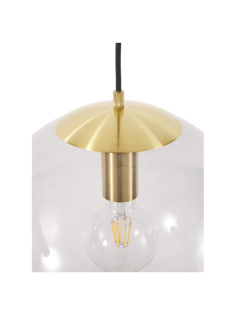 Pendelleuchte Bao aus Glas, Lampenschirm: Glas, Baldachin: Metall, galvanisiert, Blau, Ø 35 cm