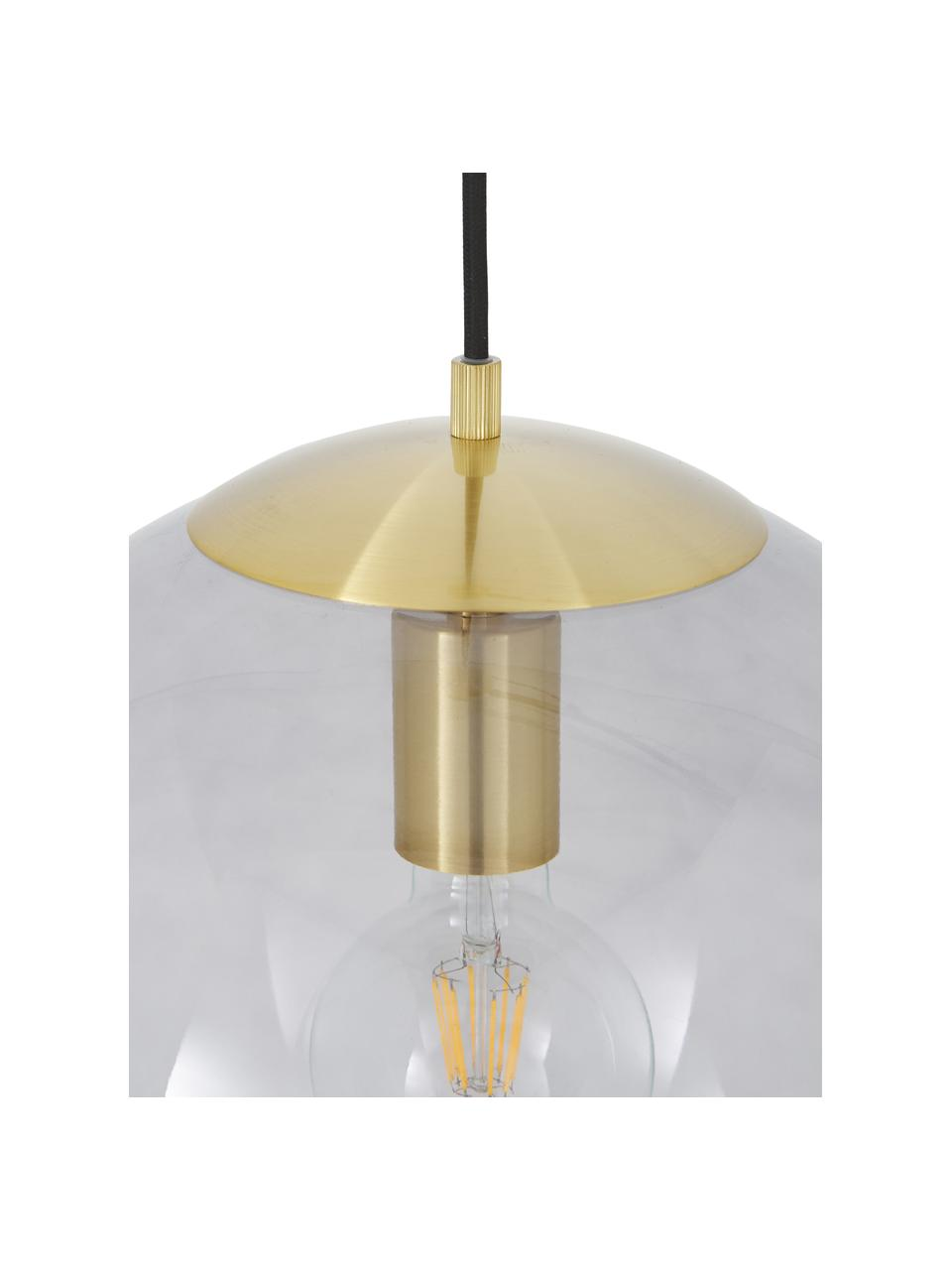 Lampada a sospensione in vetro Bao, Paralume: vetro, Baldacchino: metallo zincato, Blu, Ø 35 cm
