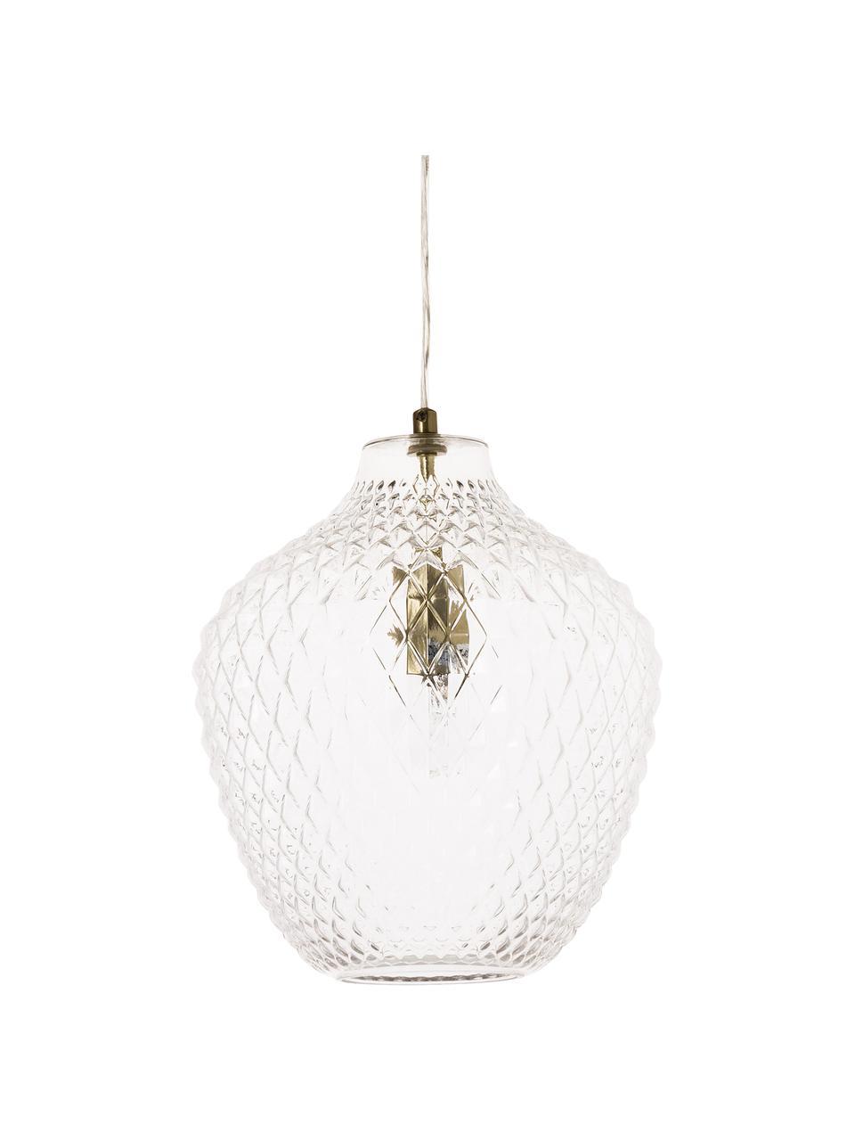 Lampa wisząca ze szkła Lee, Transparentny, mosiądz, Ø 27 x W 33 cm
