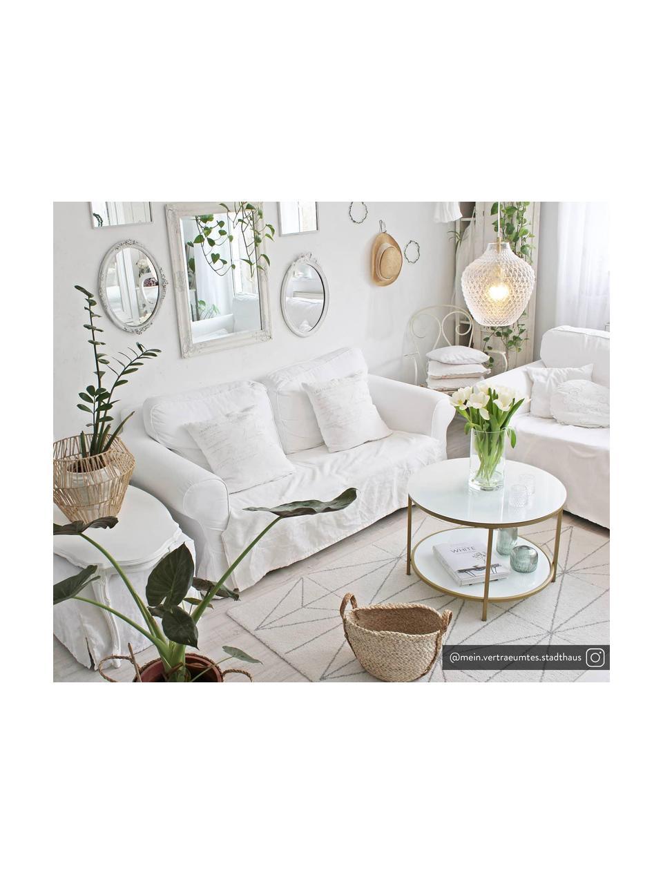 Kleine hanglamp Lee van glas, Lampenkap: glas, Baldakijn: verchroomd metaal, Fitting: verchroomd metaal, Transparant, messingkleurig, Ø 27  x H 33 cm