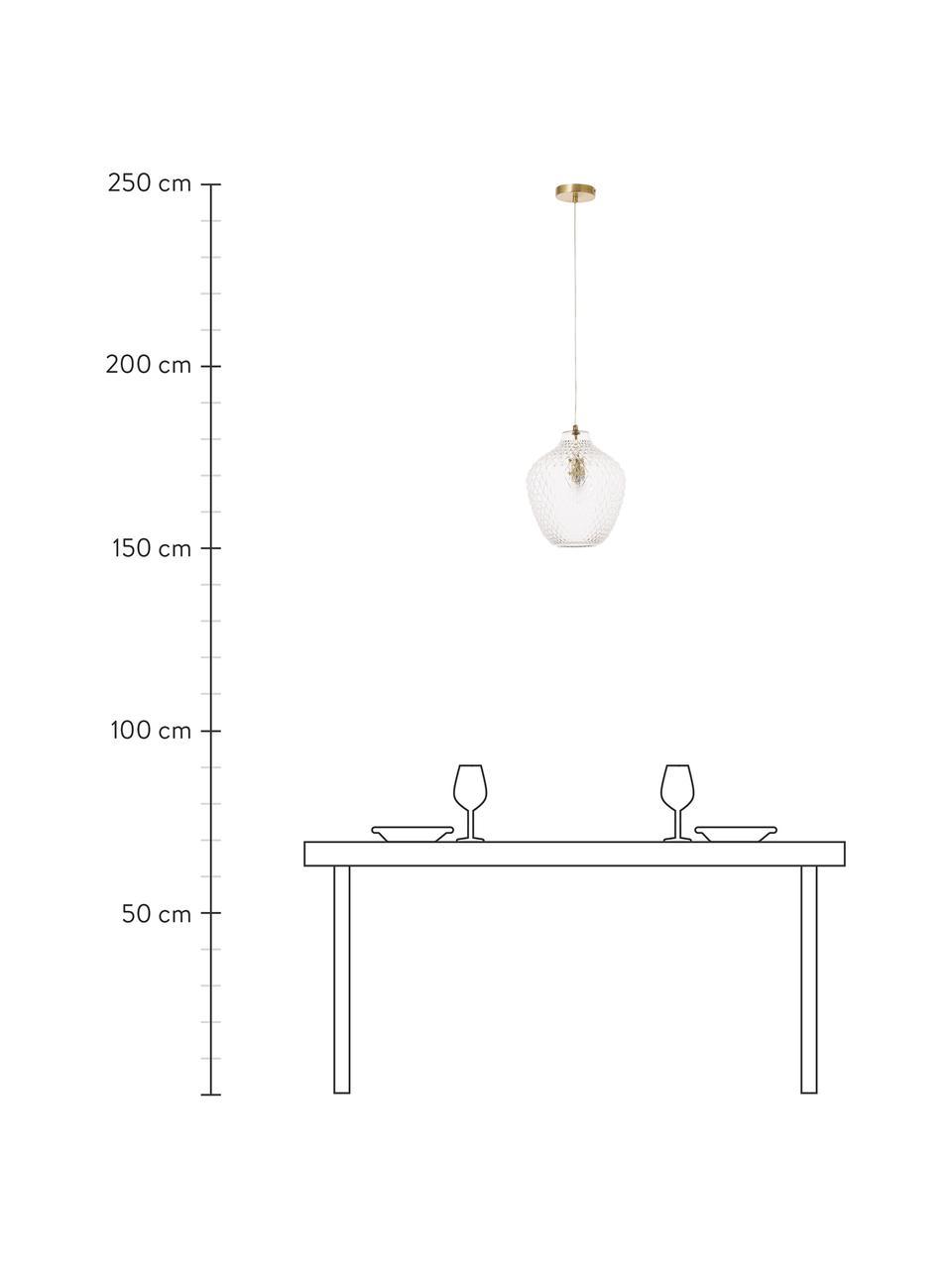 Mała lampa wisząca ze szkła Lee, Transparentny, mosiądz, Ø 27 x W 33 cm