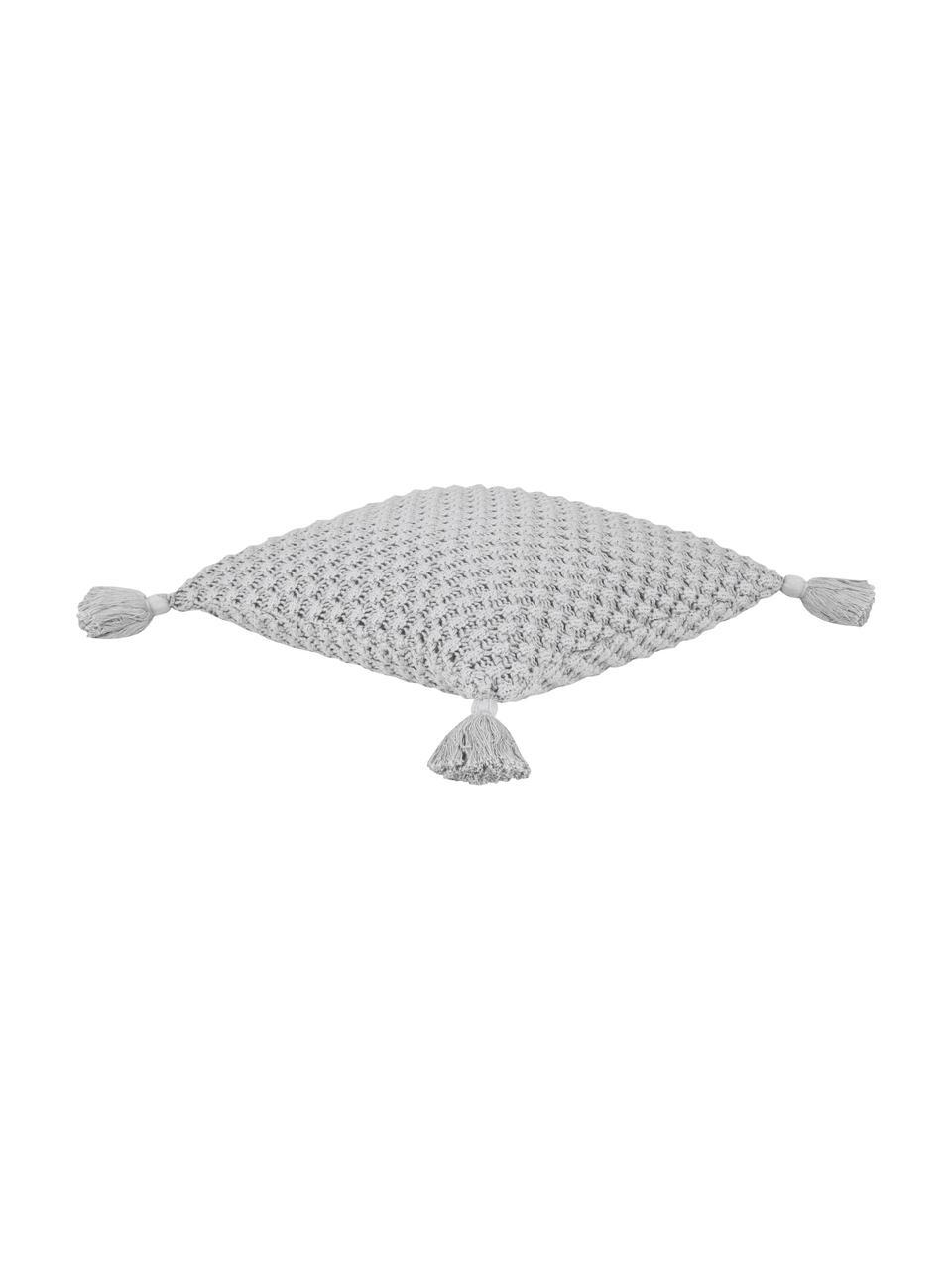Strick-Kissenhülle Astrid mit Quasten in Grau, 100% Baumwolle, Grau, 50 x 50 cm