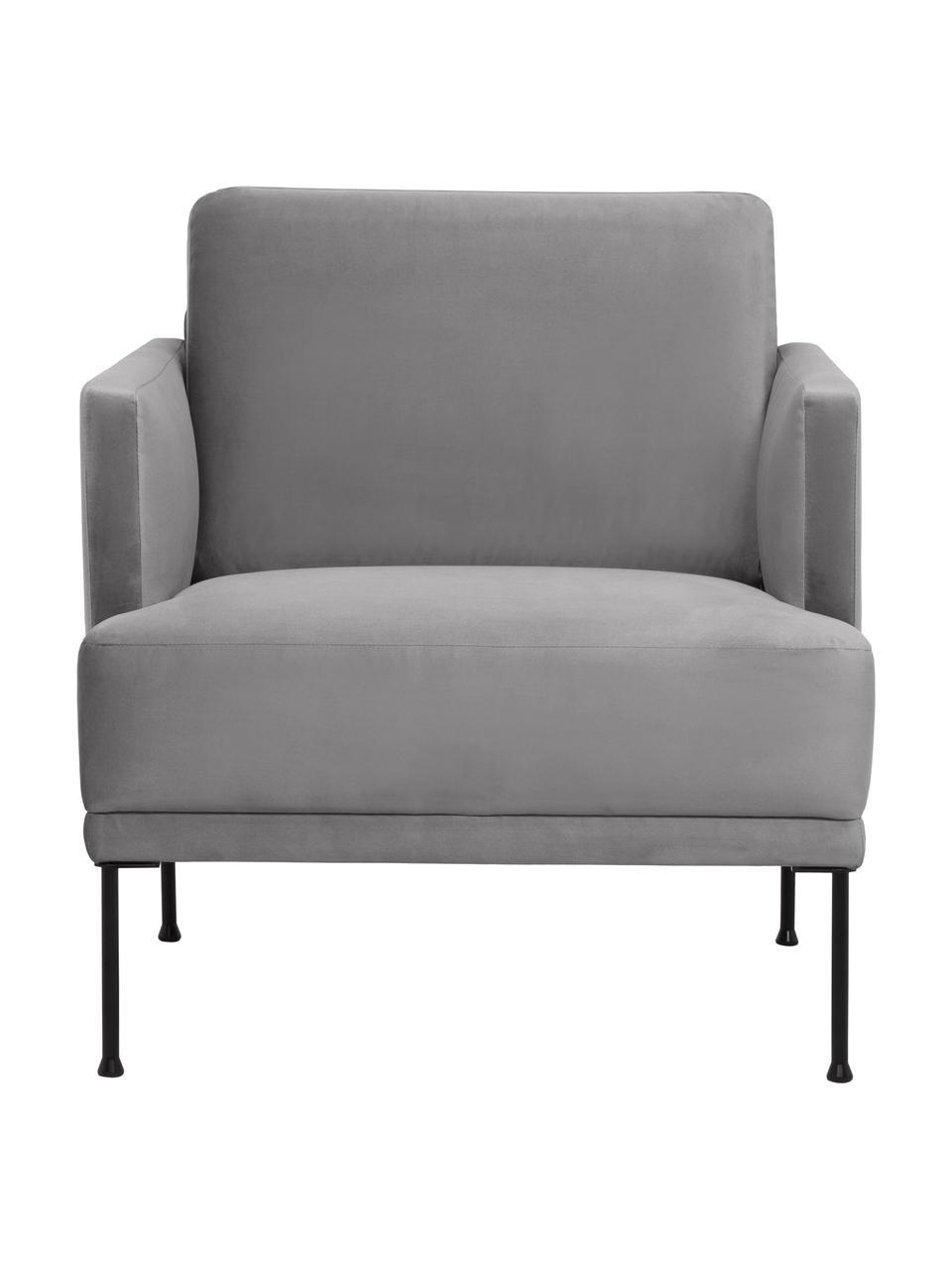 Samt-Sessel Fluente in Hellgrau mit Metall-Füßen, Bezug: Samt (Hochwertiger Polyes, Gestell: Massives Kiefernholz, Füße: Metall, pulverbeschichtet, Samt Hellgrau, B 74 x T 85 cm