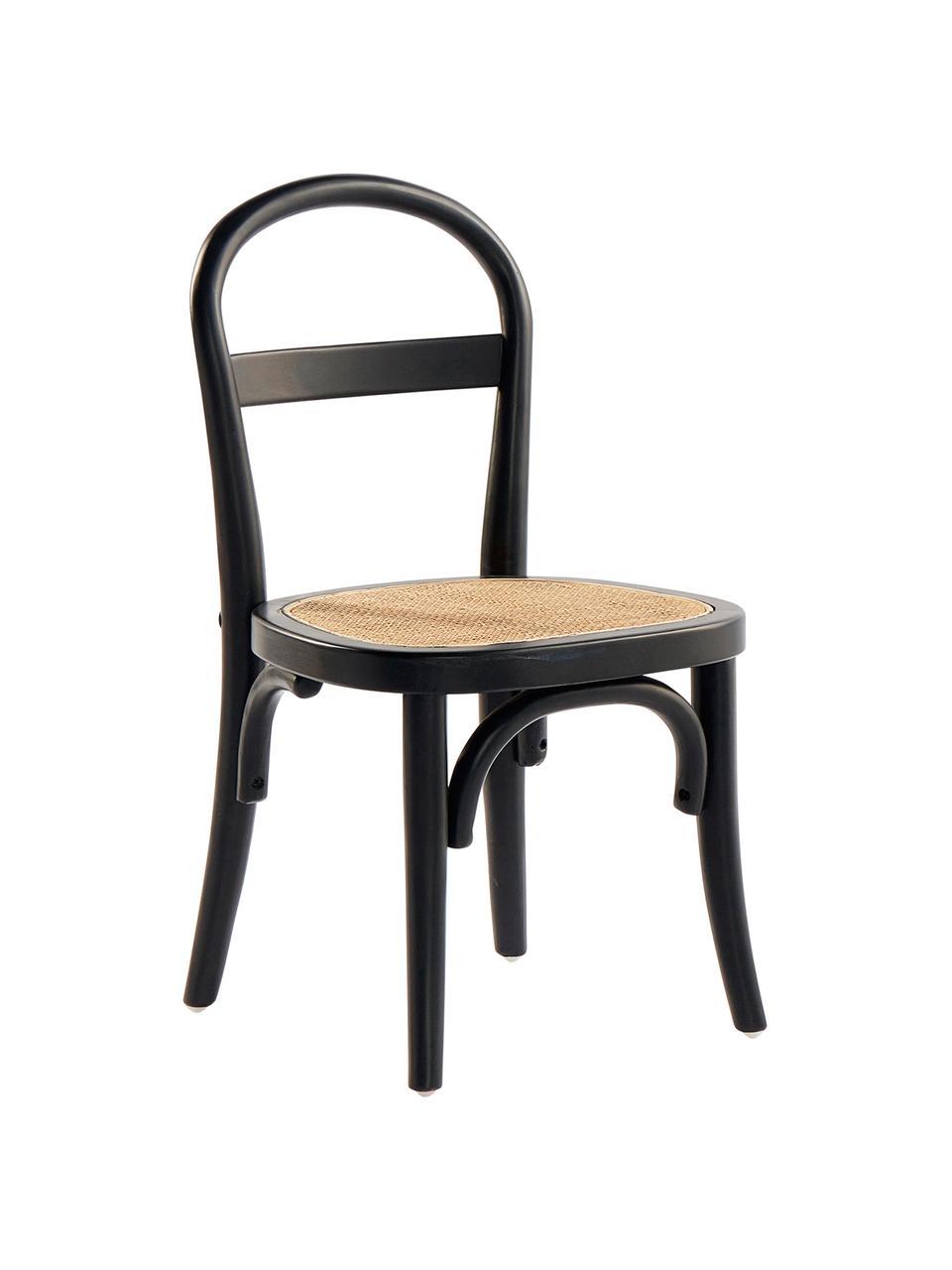 Kinderstühle Rippats, 2 Stück, Birkenholz, Rattan, Schwarz, Rattan, B 33 x T 35 cm