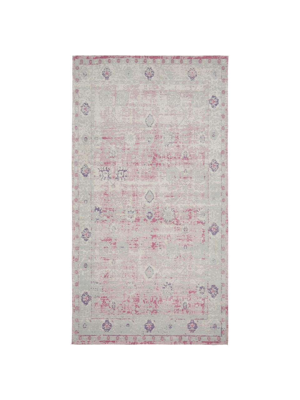 Ręcznie tkany dywan szenilowy w stylu vintage Rimini, Blady różowy, szary, S 80 x D 150 cm (Rozmiar XS)
