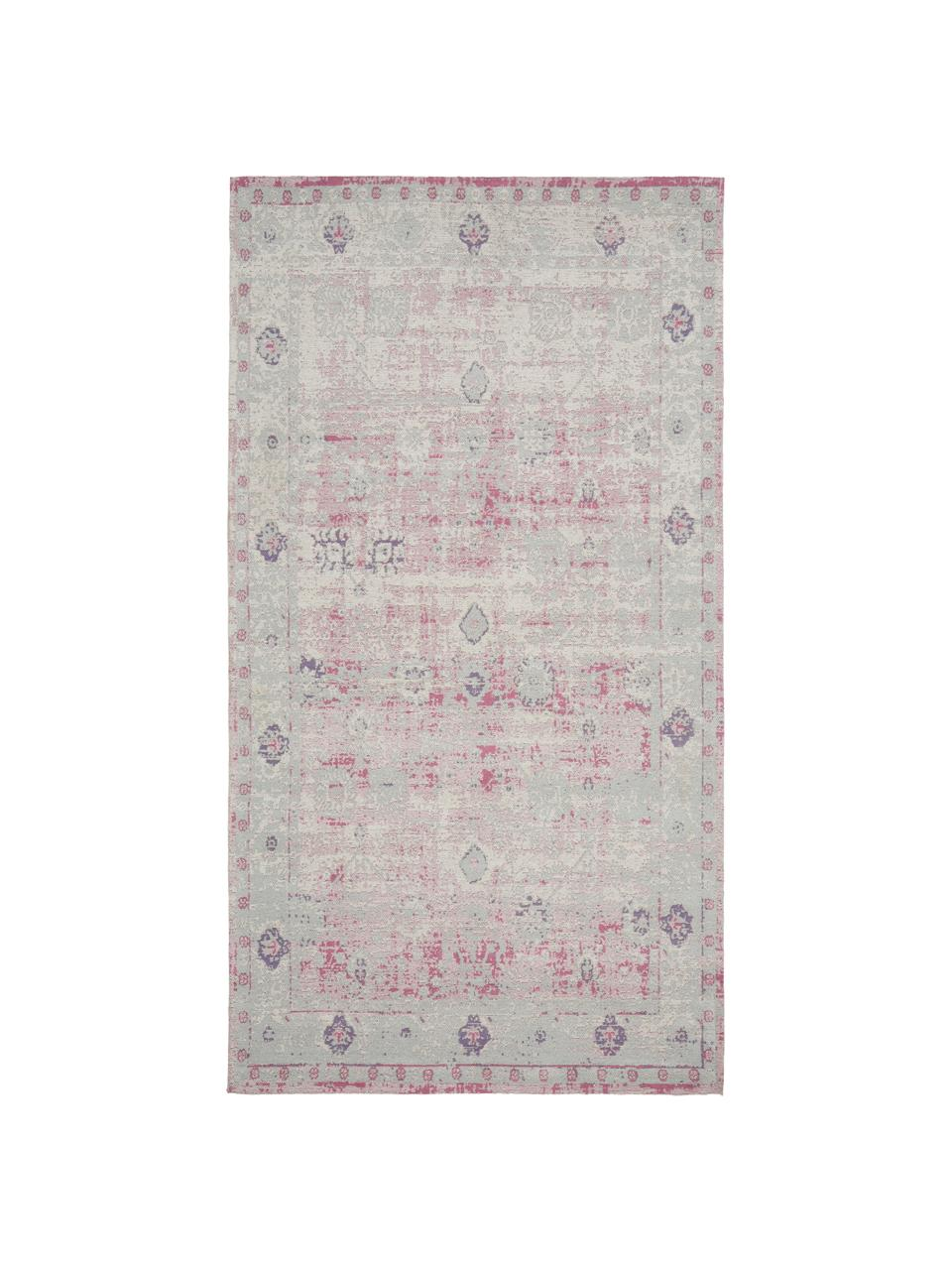 Tappeto vintage in ciniglia rosa-grigio chiaro tessuto a mano Rimini, Retro: 100% cotone, Rosa, grigio, Larg. 80 x Lung. 150 cm (taglia XS)