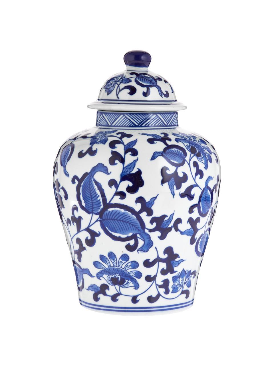 Wazon z porcelany z pokrywką Annabelle, Porcelana, Niebieski, biały, Ø 16 x 26 cm