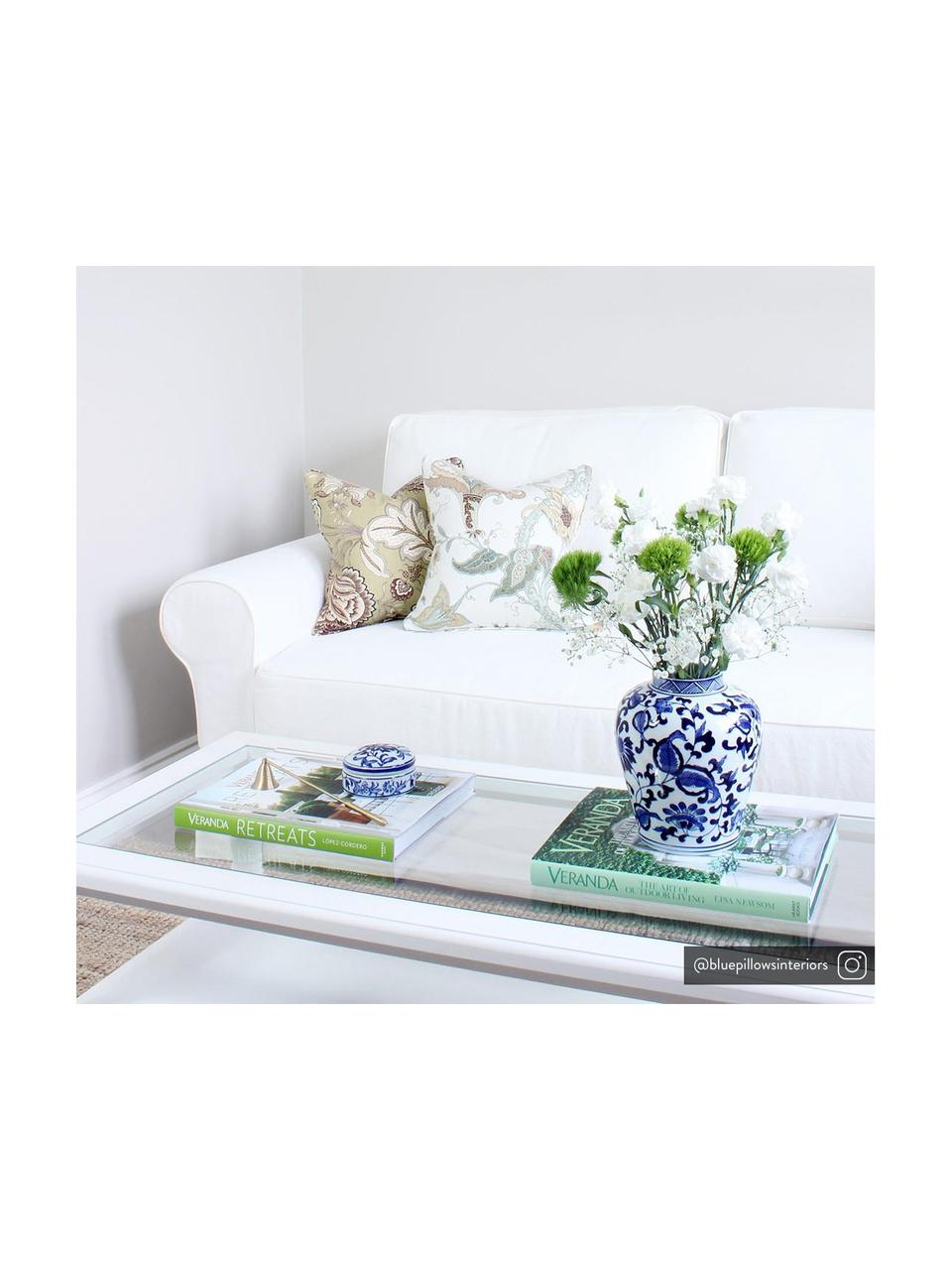 Vaso con coperchio in porcellana Annabelle, Porcellana, Blu, bianco, Ø 16 x Alt. 26 cm