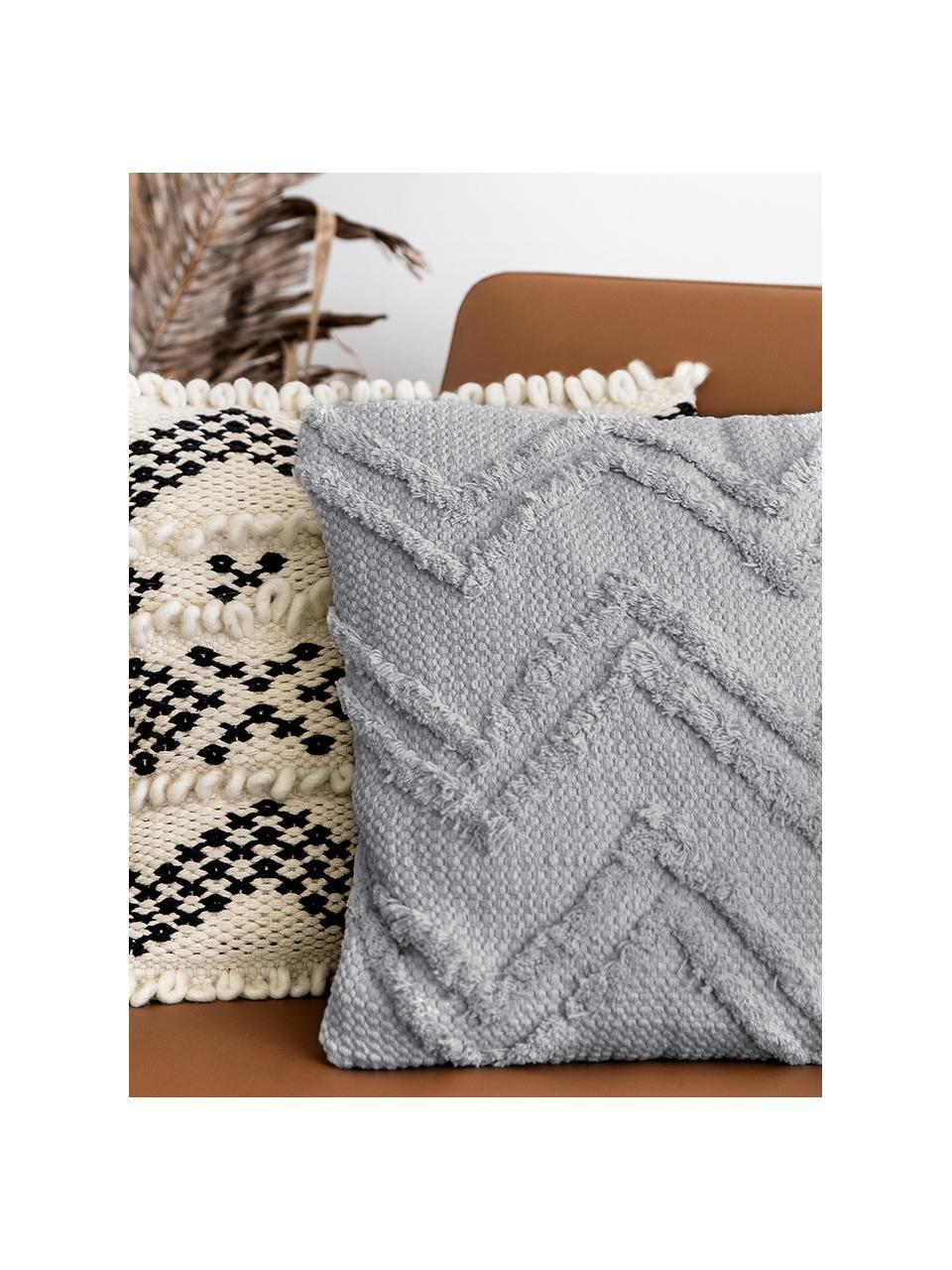 Boho kussenhoes Akesha met getuft zigzagpatroon, 100% katoen, Grijs, 45 x 45 cm