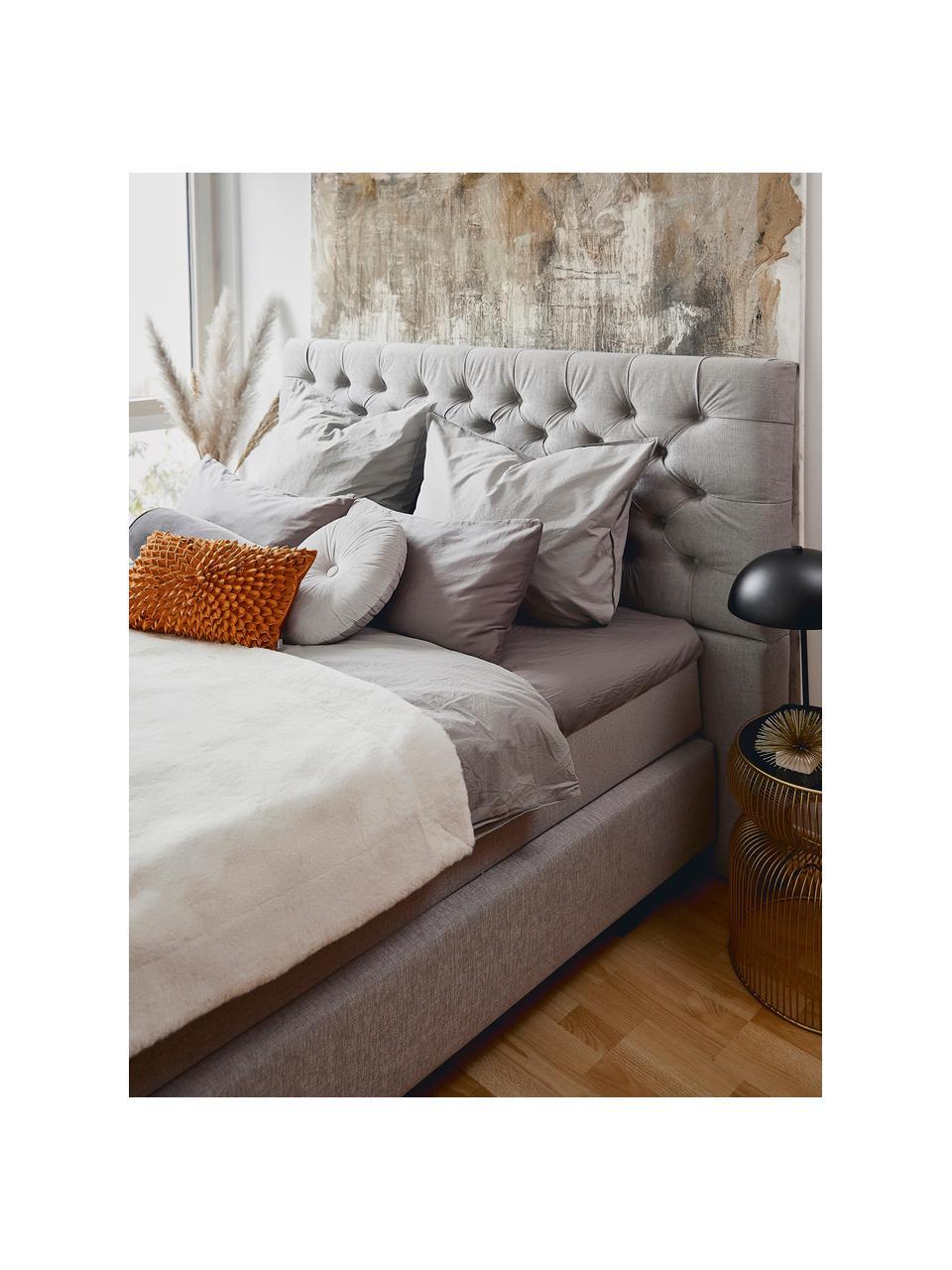 Letto Boxspring in velluto grigio con contenitore Premium Phebe, Materasso: nucleo a 5 zone di molle , Piedini: legno di betulla massicci, Grigio chiaro, 200 x 200 cm