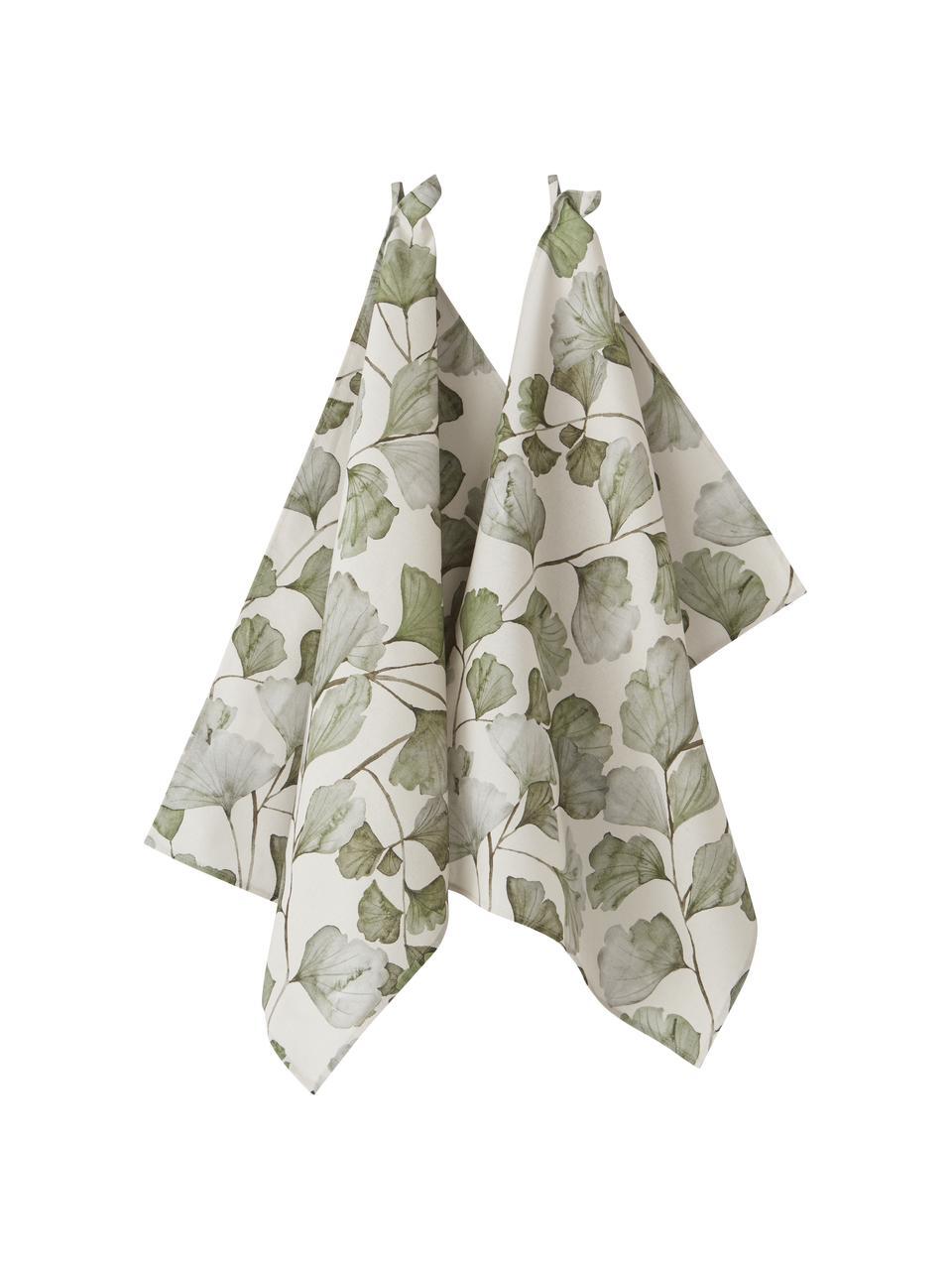 Baumwoll-Geschirrtücher Gigi mit Blättermotiven, 2 Stück, 100% Baumwolle, Beige, Grün, 50 x 70 cm